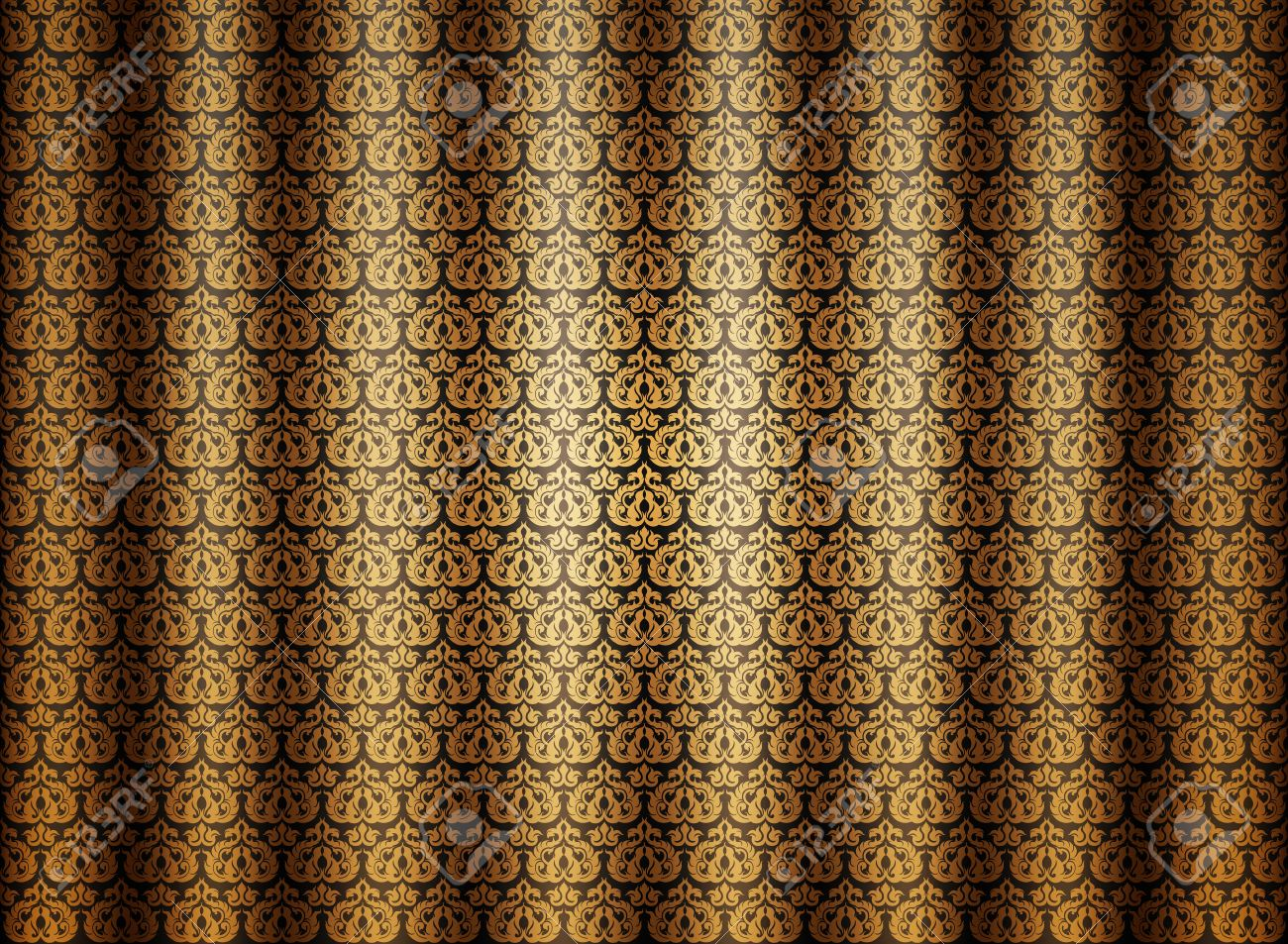 Curtains texture gold - Golden Seamless Pattern Curtains Vintage Style Background Stock Vector 21165596