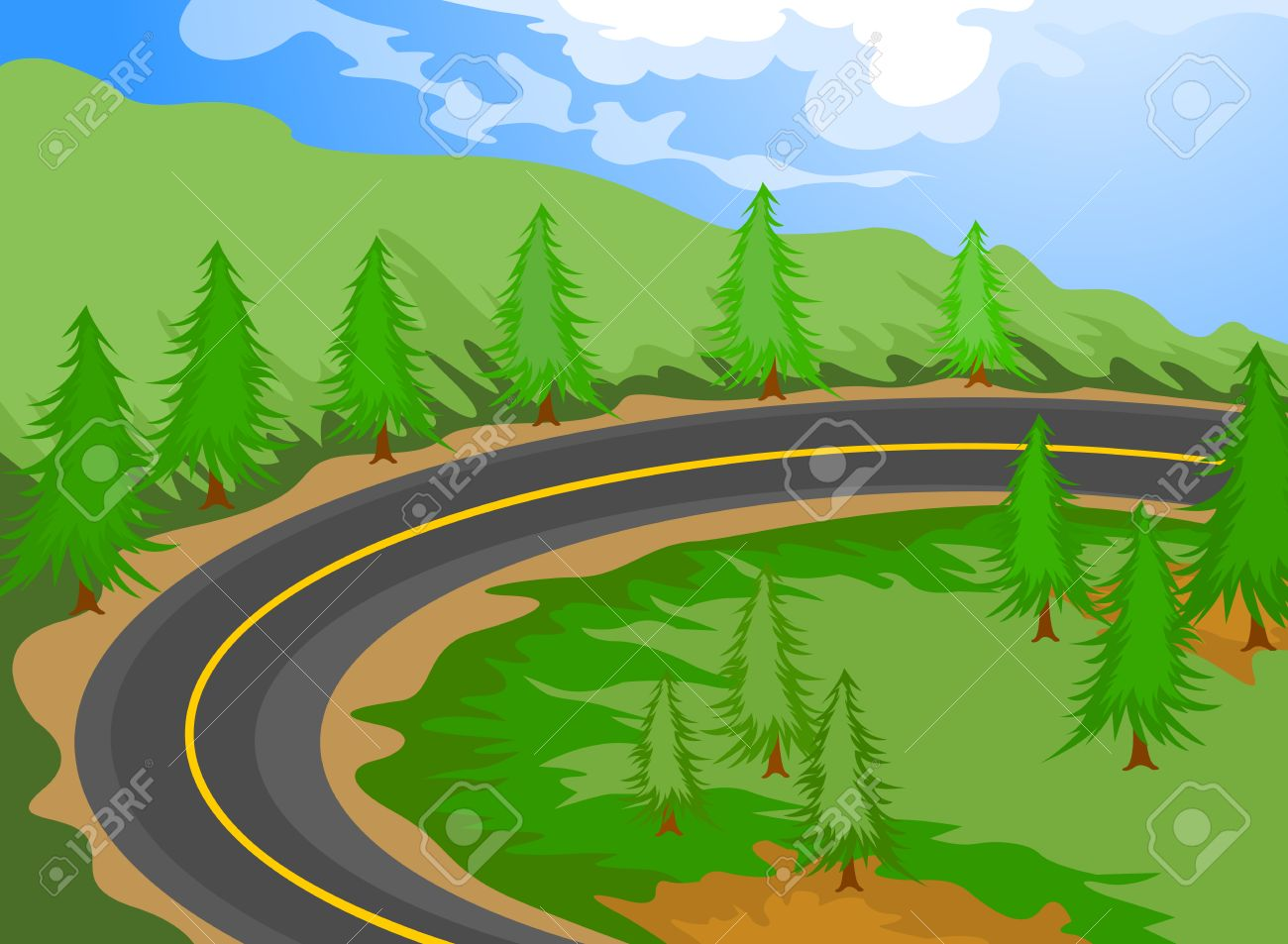Dessin De Route le dessin animé de route paysage, nature, fond clip art libres de