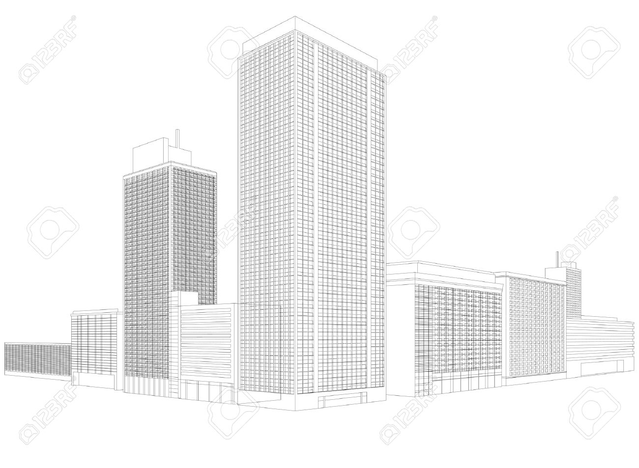 residential city wireframe building royalty free cliparts vectors