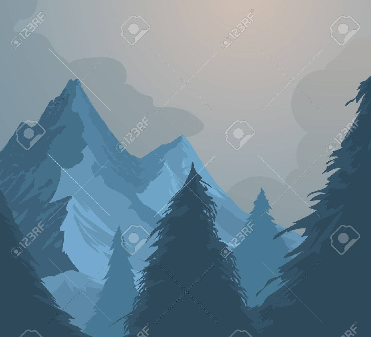 Mountains and forest vector nature landscape background Stock Vector - 56476831