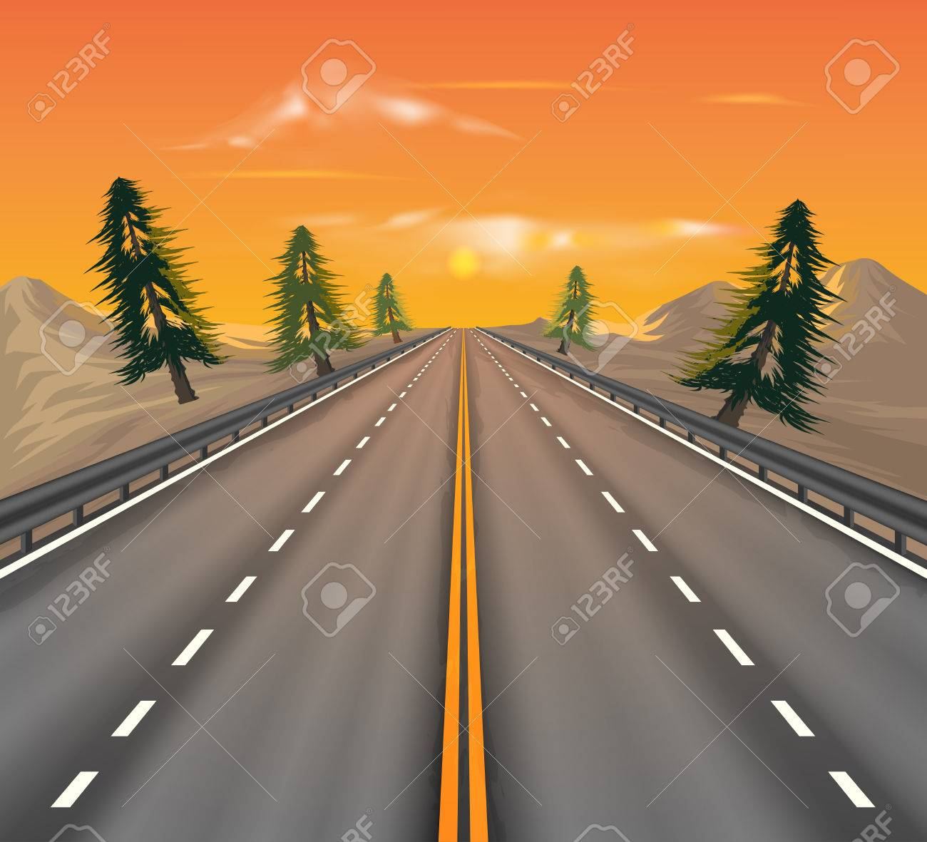 Sunset on the road transportation vector nature landscape background Stock Vector - 59736767