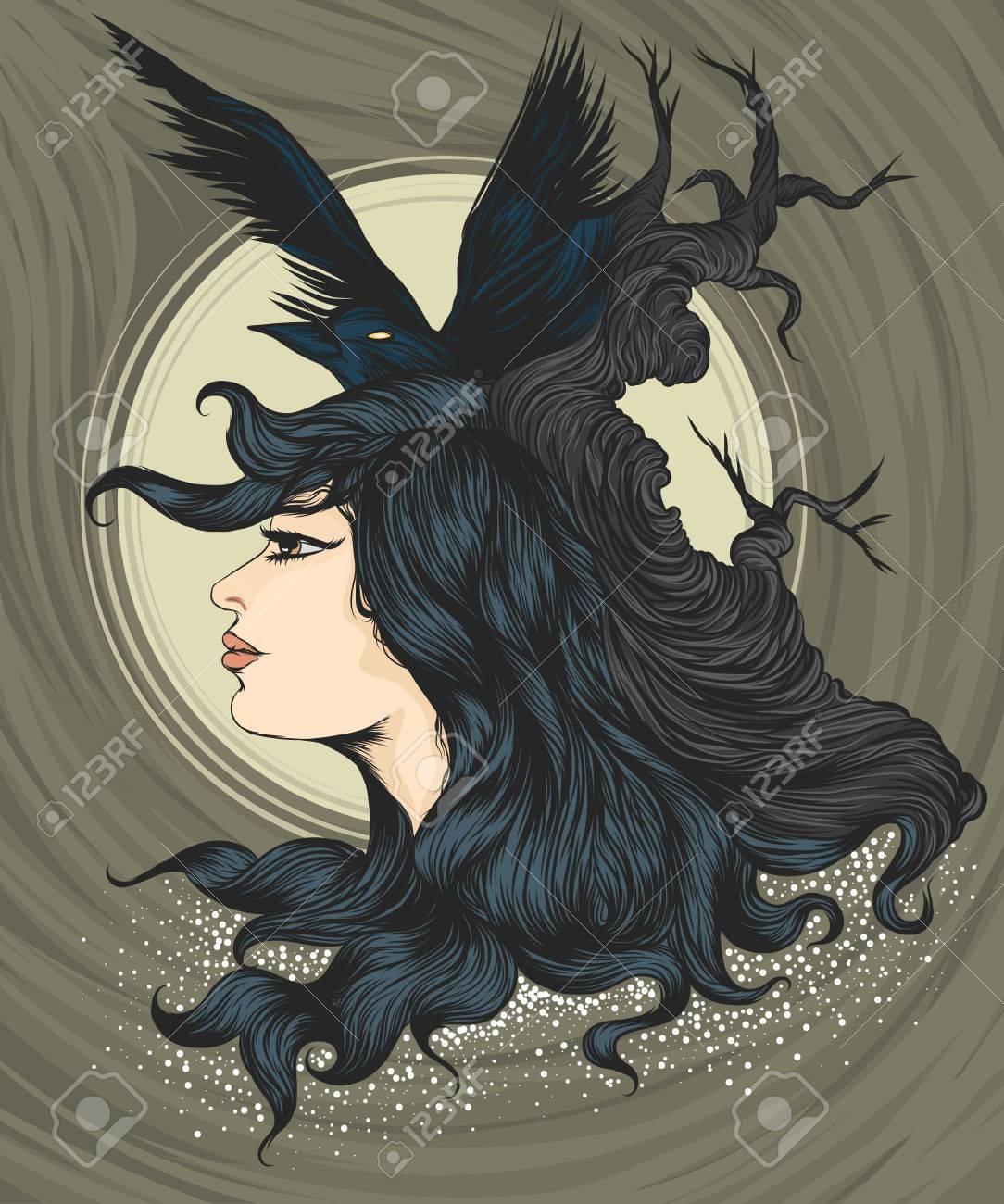 b555b7e7 Beautiful woman with raven crow theme t-shirt vector hand drawing..