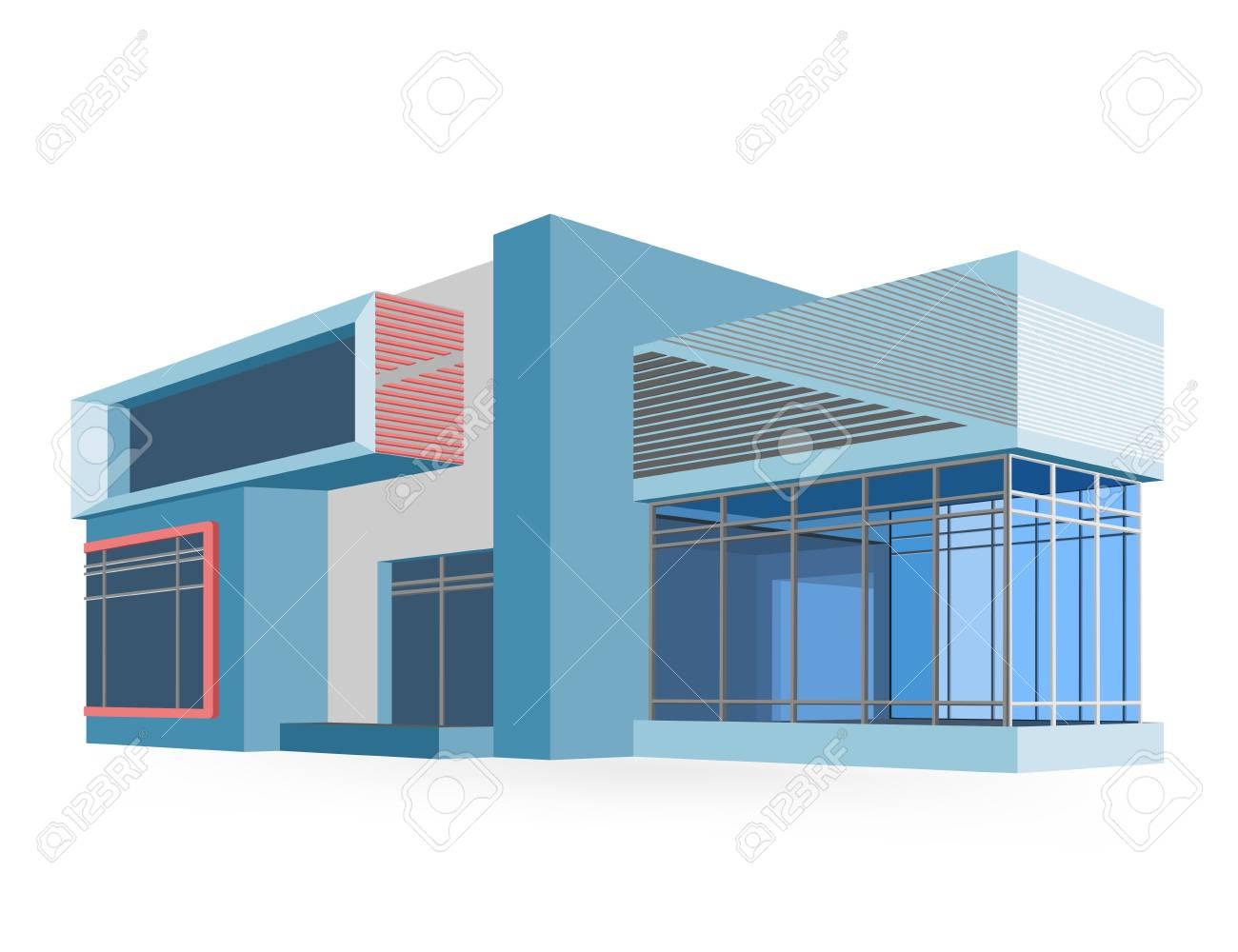 Modèles Maison Moderne Couleurs De Style Dessin Vectoriel Sur Un Fond Blanc