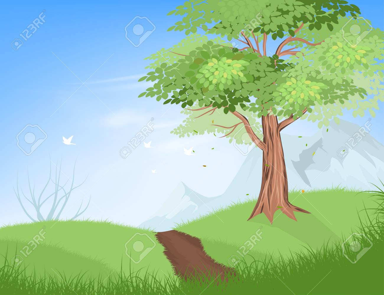 Tree On Hill Vector Nature Landscape Background Royalty Free Cliparts Vectors And Stock Illustration Image 73648453