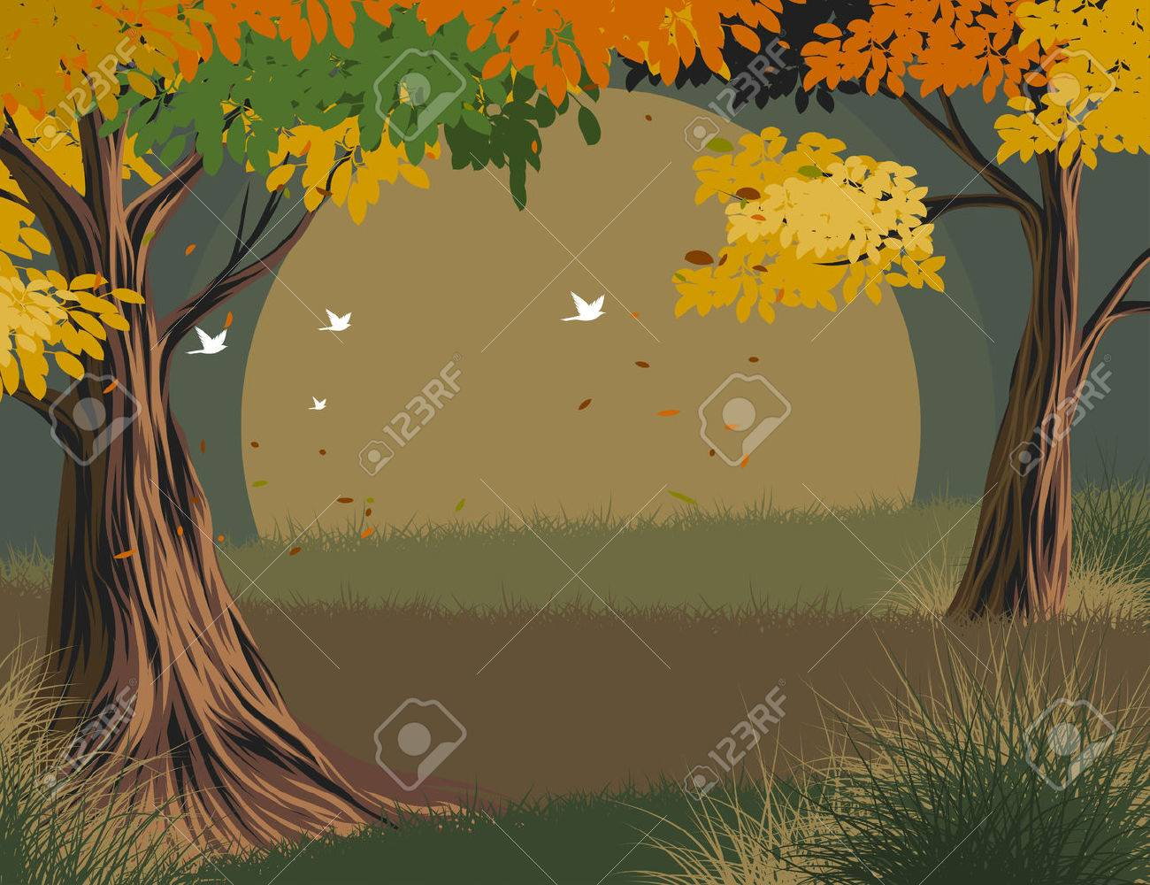 Leaves falling seasonal scene vector nature landscape background Stock Vector - 75393909