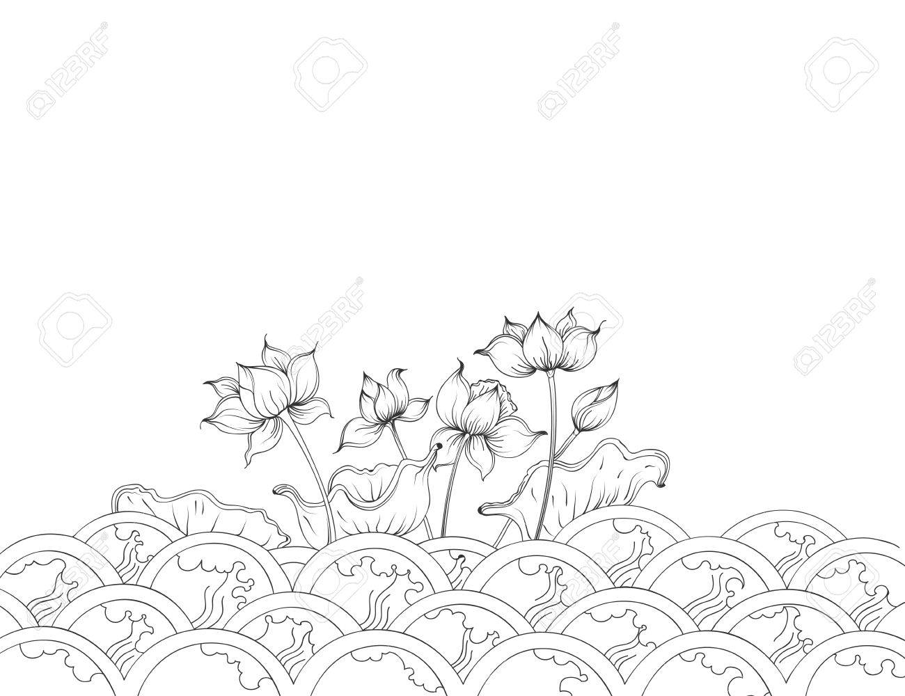 Lotus flowers art patternthai culture vector on a white background lotus flowers art patternthai culture vector on a white background stock vector 79577701 izmirmasajfo