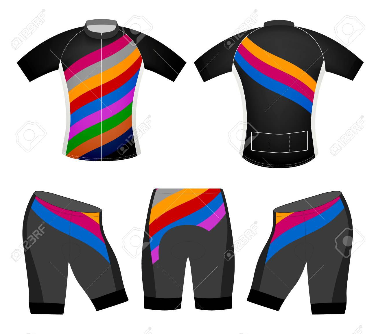 Realistic multi-colored cycling uniform template on white background. Stock  Vector - 85051199 58912f481