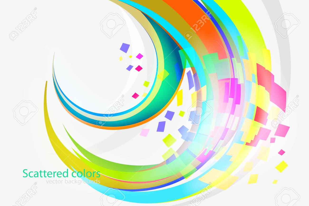 Abstract Scattered Colors Curvy Scene Vector Wallpaper On A Gray