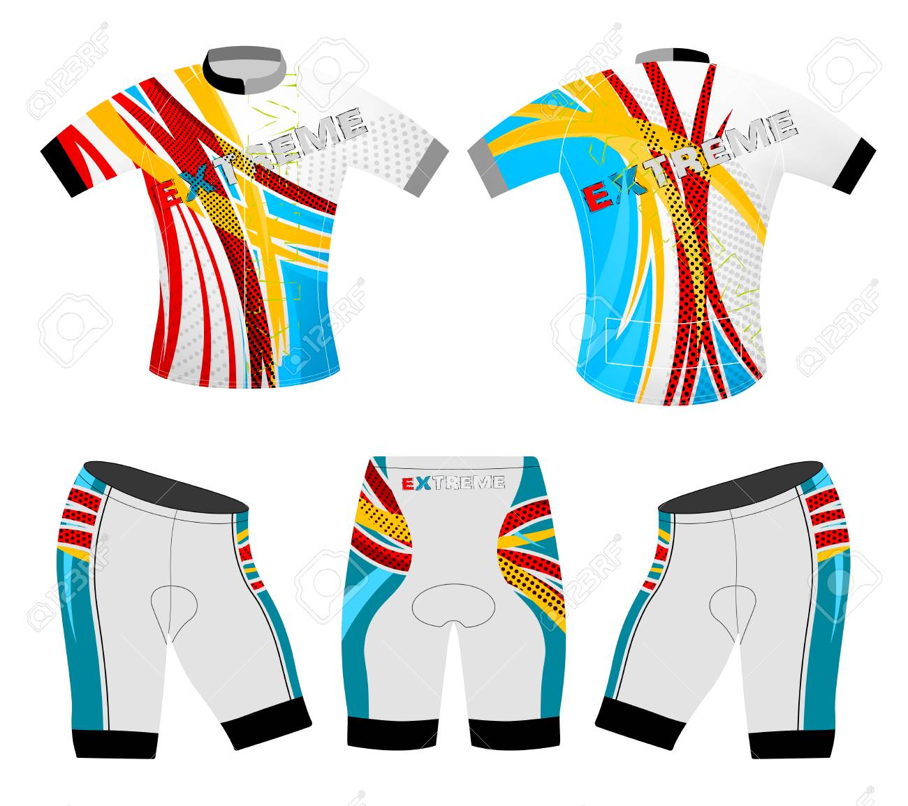 Colors Motion Graphics Cycling Vest Vector Sports T Shirt Design