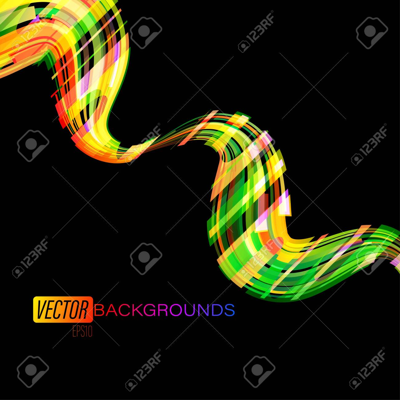Colorful Shapes Motion Effects On A Black Vector Wallpaper Backgrounds