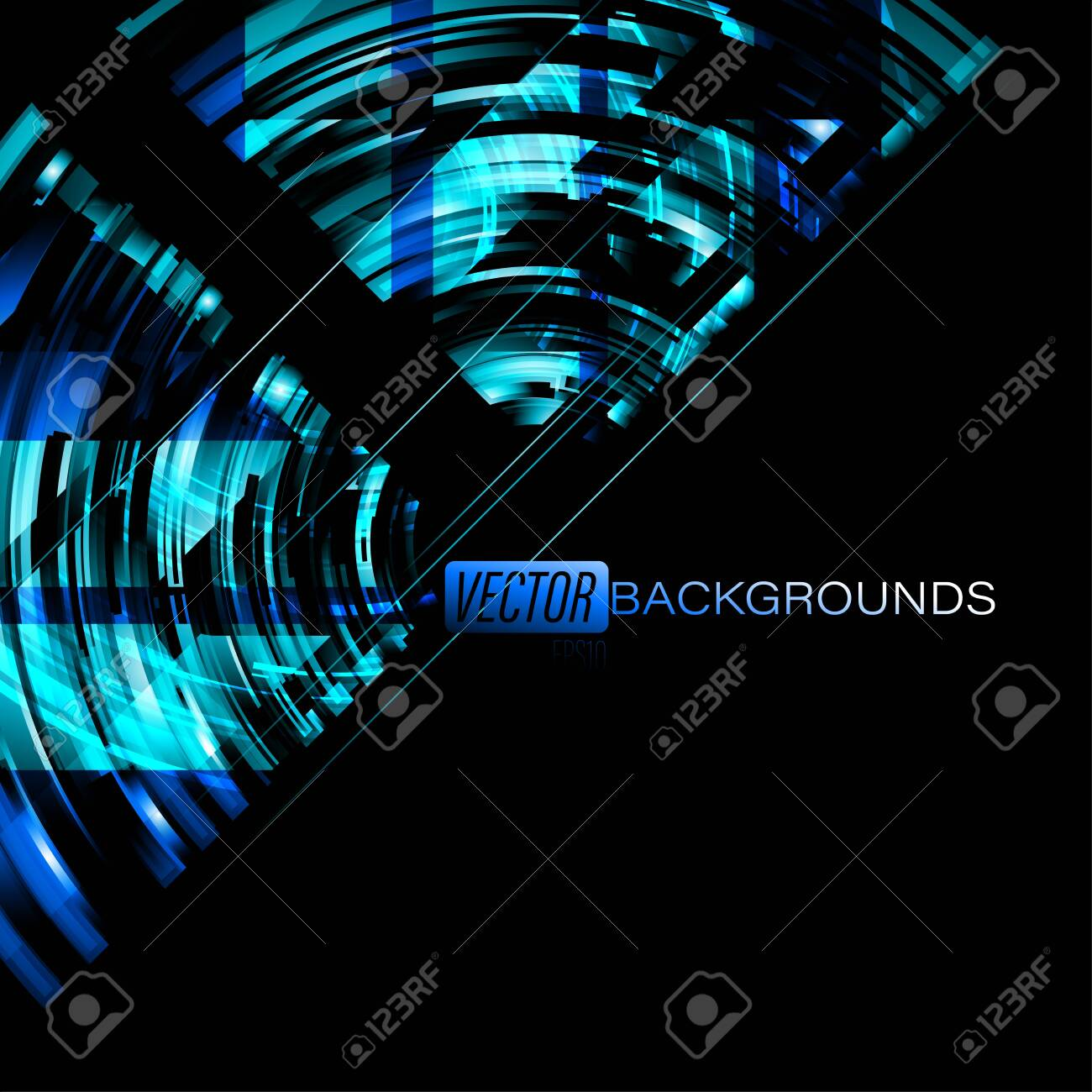Abstract Blue Neon Colors On A Black Vector Wallpaper Backgrounds