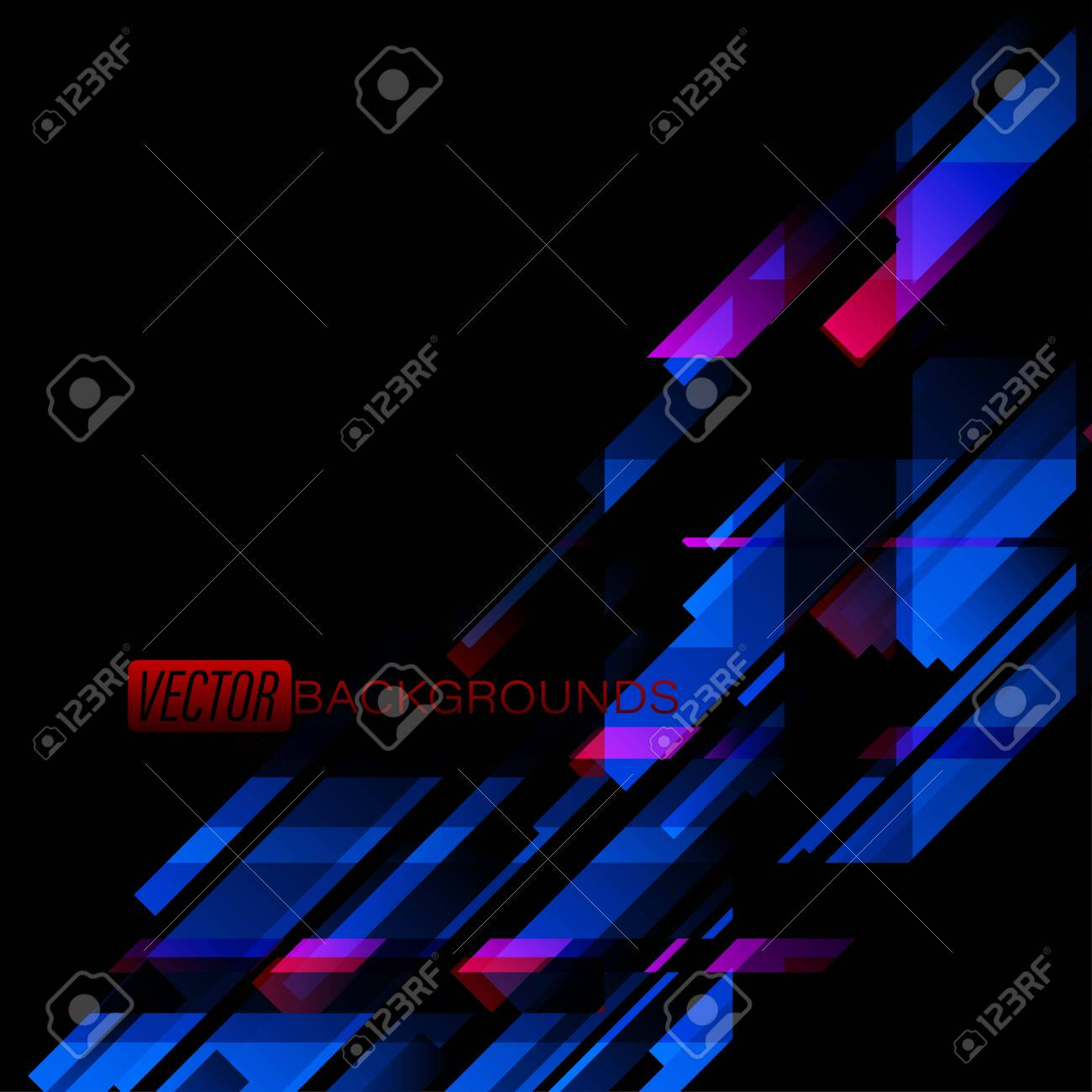Abstract Geometric Dark And Blue Colors On A Black Scene Vector