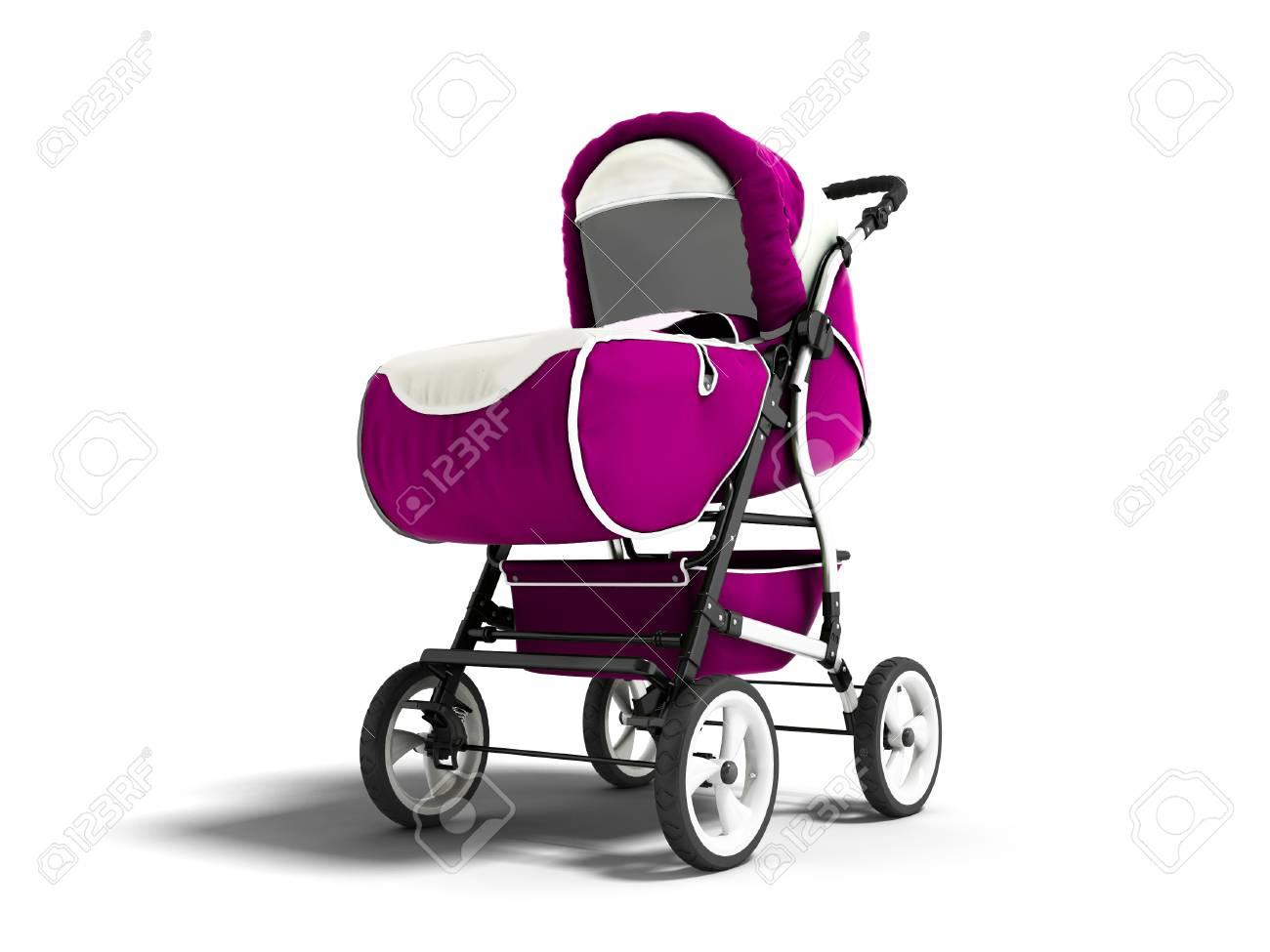 Carro púrpura del bebé moderno para cualquier tiempo con la representación blanca del cincel 3d en un fondo blanco con la sombra