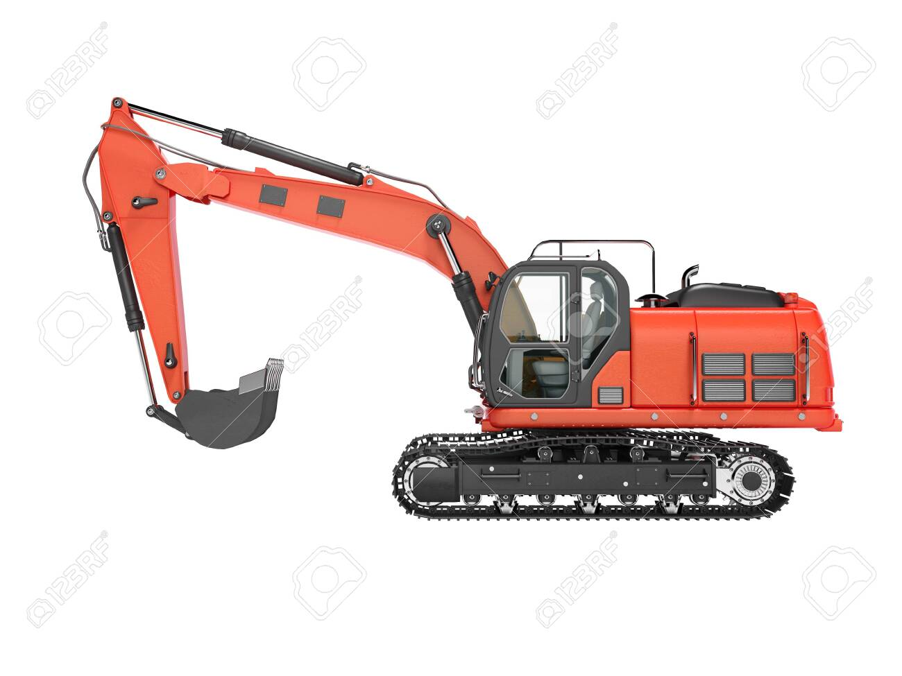 Road building red excavator on metal caterpillar track left side view 3d render on white background no shadow - 129352276