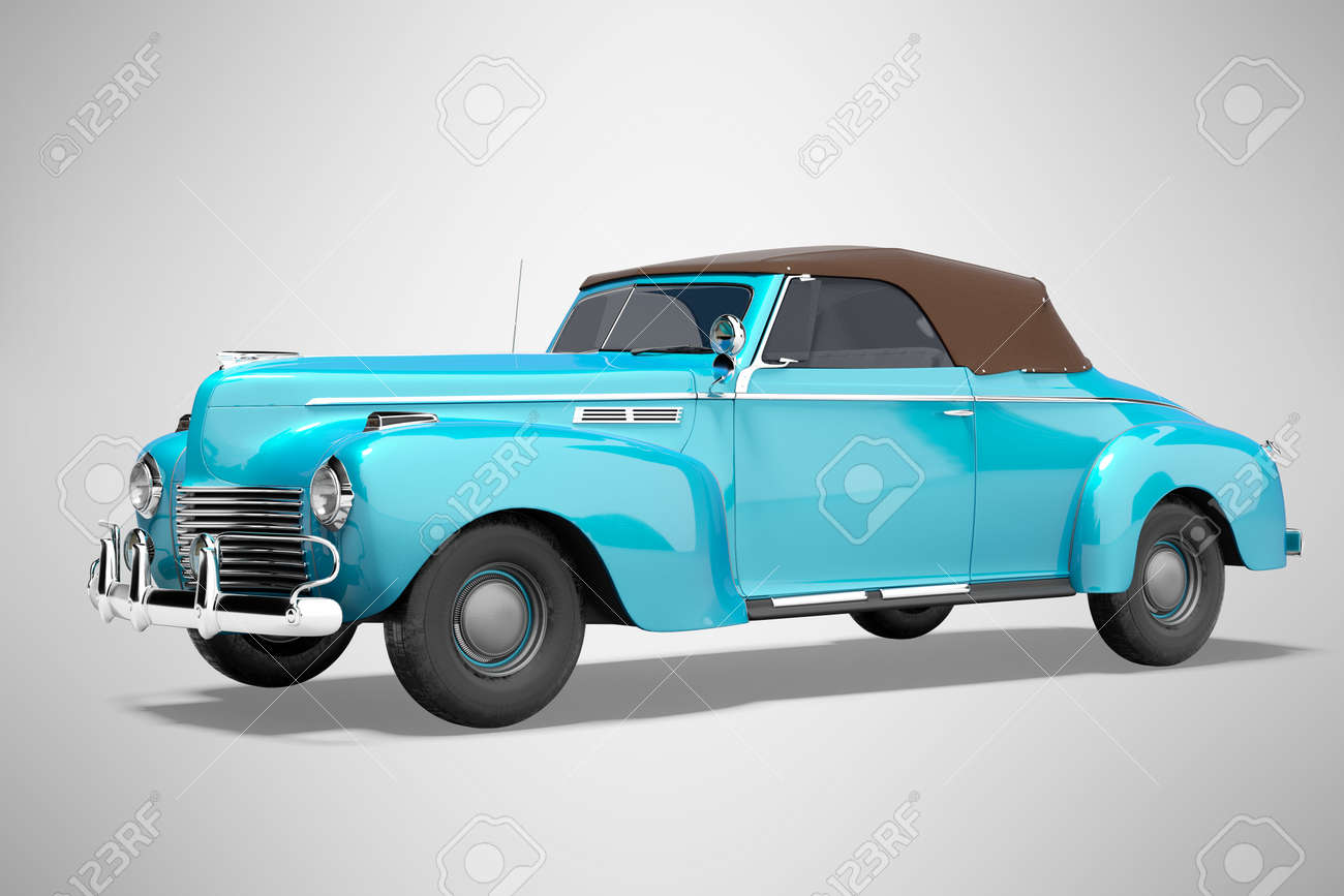 3d rendering blue classic convertible leather car isolated on gray background with shadow - 159708823