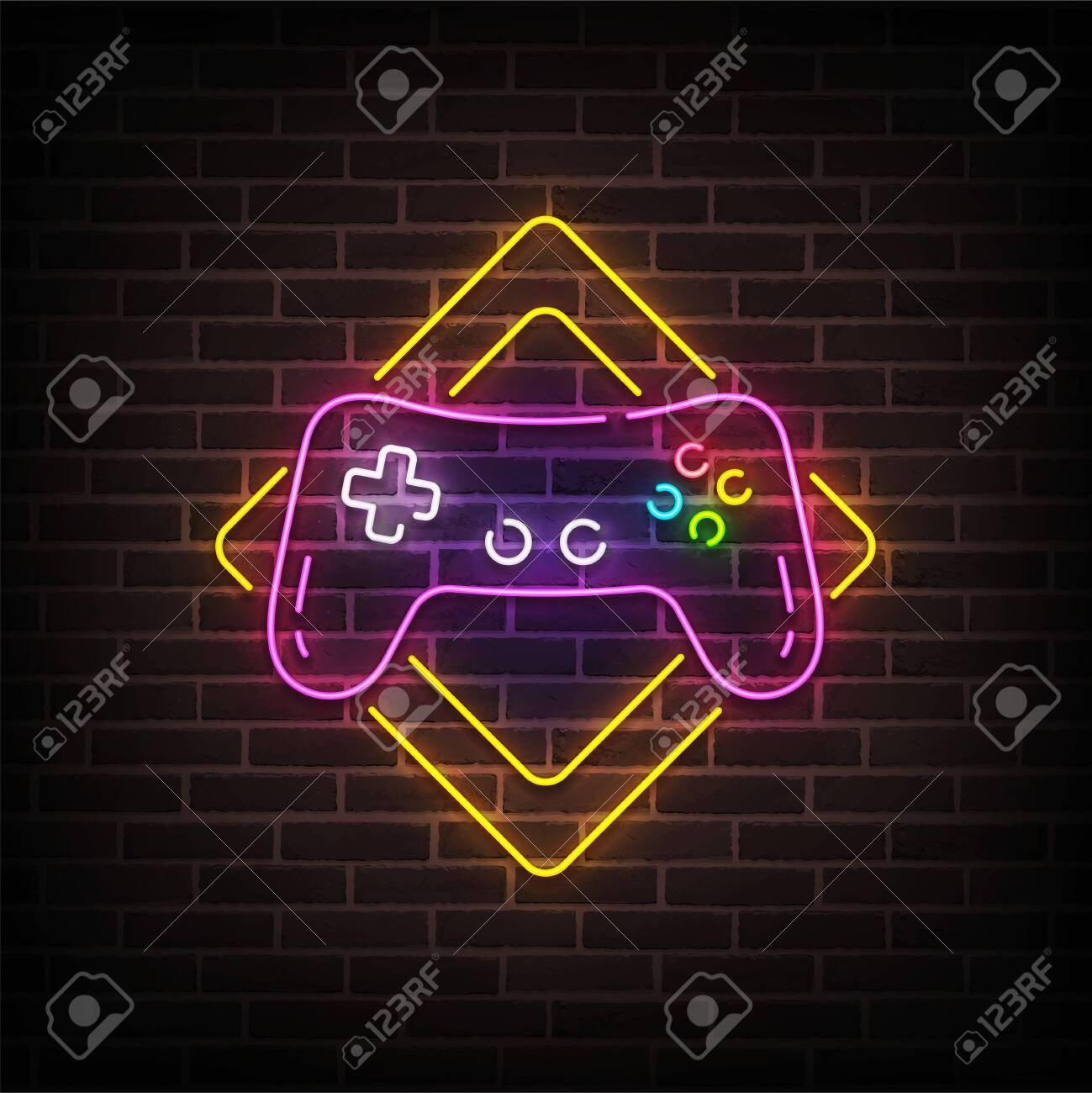 Game Zone Neon Sign Bright Signboard Light Banner Game Area Royalty Free Cliparts Vectors And Stock Illustration Image 133739146