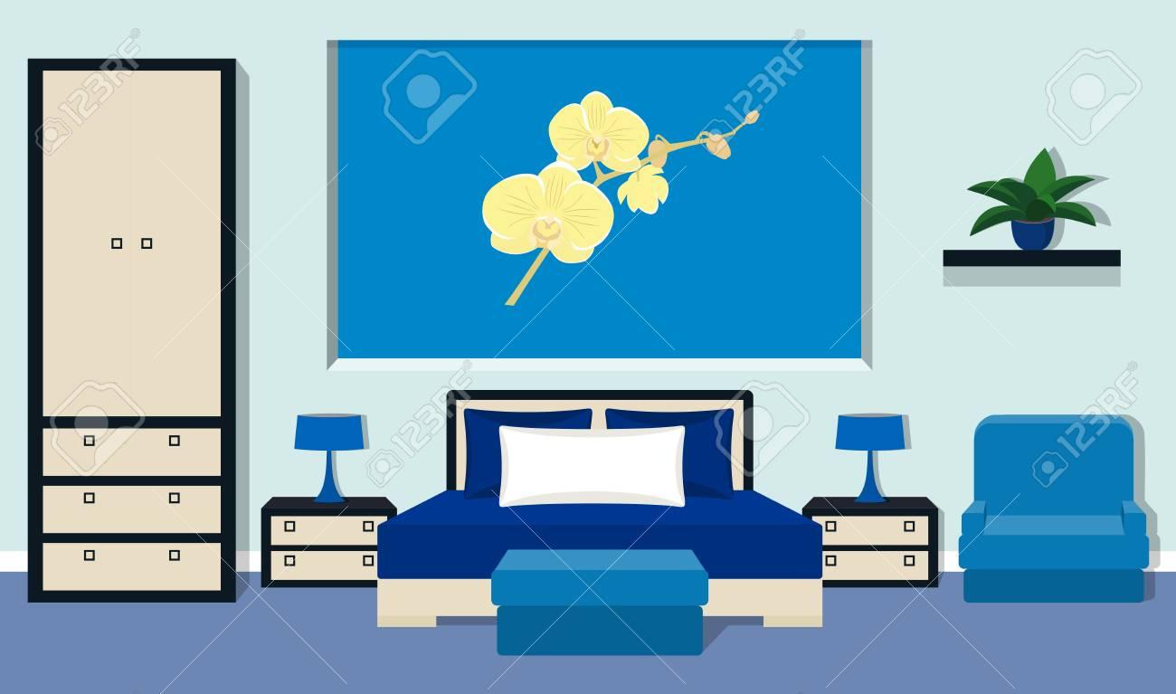 Interior Del Dormitorio Con Muebles - Cama, Mesitas De Noche ...