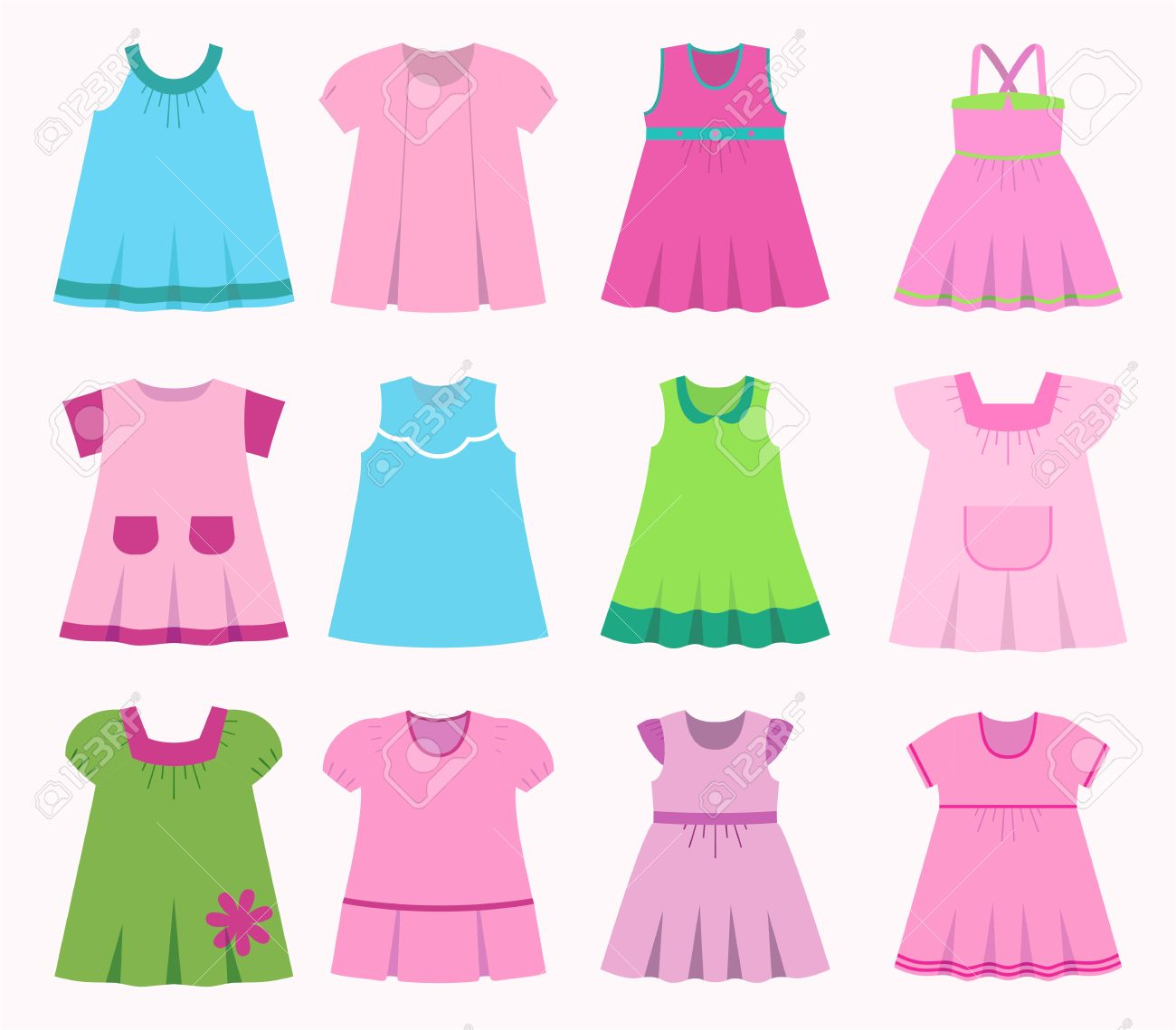 b8e3de01bbe0 Set children s summer dresses. Collection cute clothes for girls. Stock  Vector – 62968700