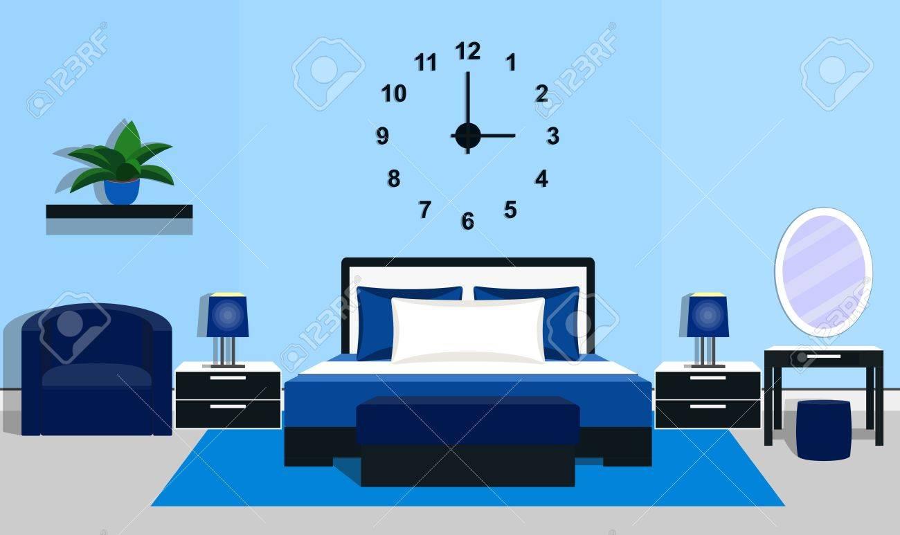 Interior Del Dormitorio Con Muebles - Cama, Mesas, Lámparas De ...