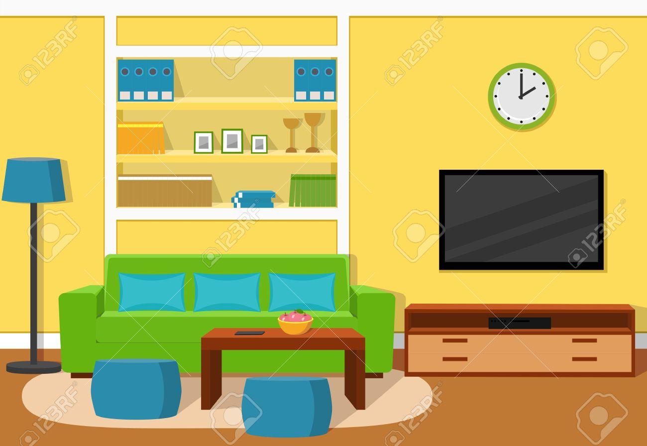 Das Innere Der Gemütlichen Wohnzimmer Mit Grünen Sofa, Türkisfarbenen  Akzenten Und Gelbe Tapete. Standard