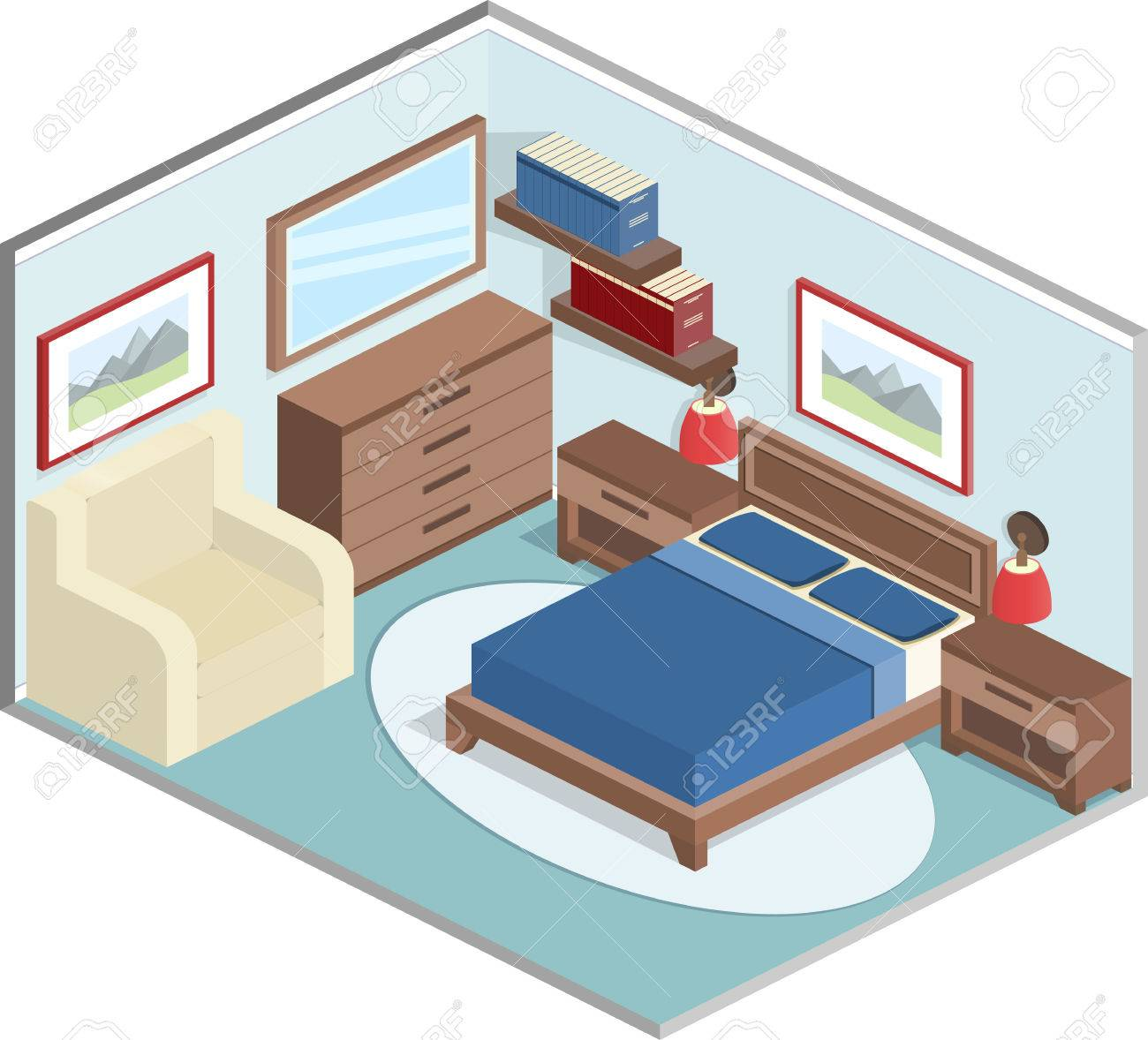 Modernes Design Der Gemütlichen Schlafzimmer Mit Möbeln. Interior In  Kubisch Stil In Blau Und