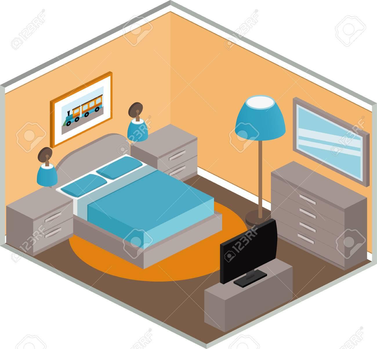 Modernes Schlafzimmer Design Mit Möbeln. Interior In Kubisch-Stil ...