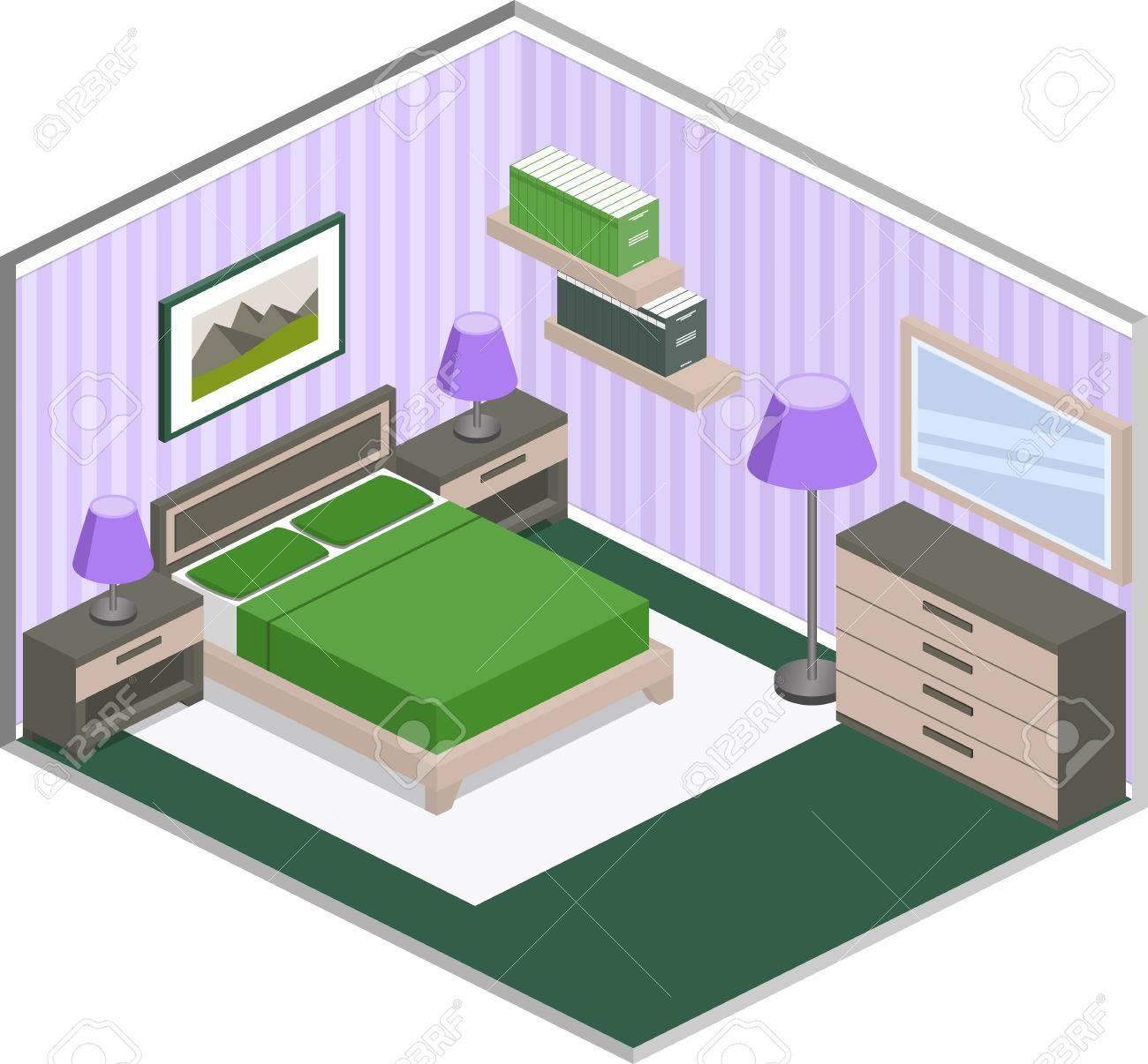 Modernes Schlafzimmer Design Mit Möbeln Im Violetten Und Grünen ...
