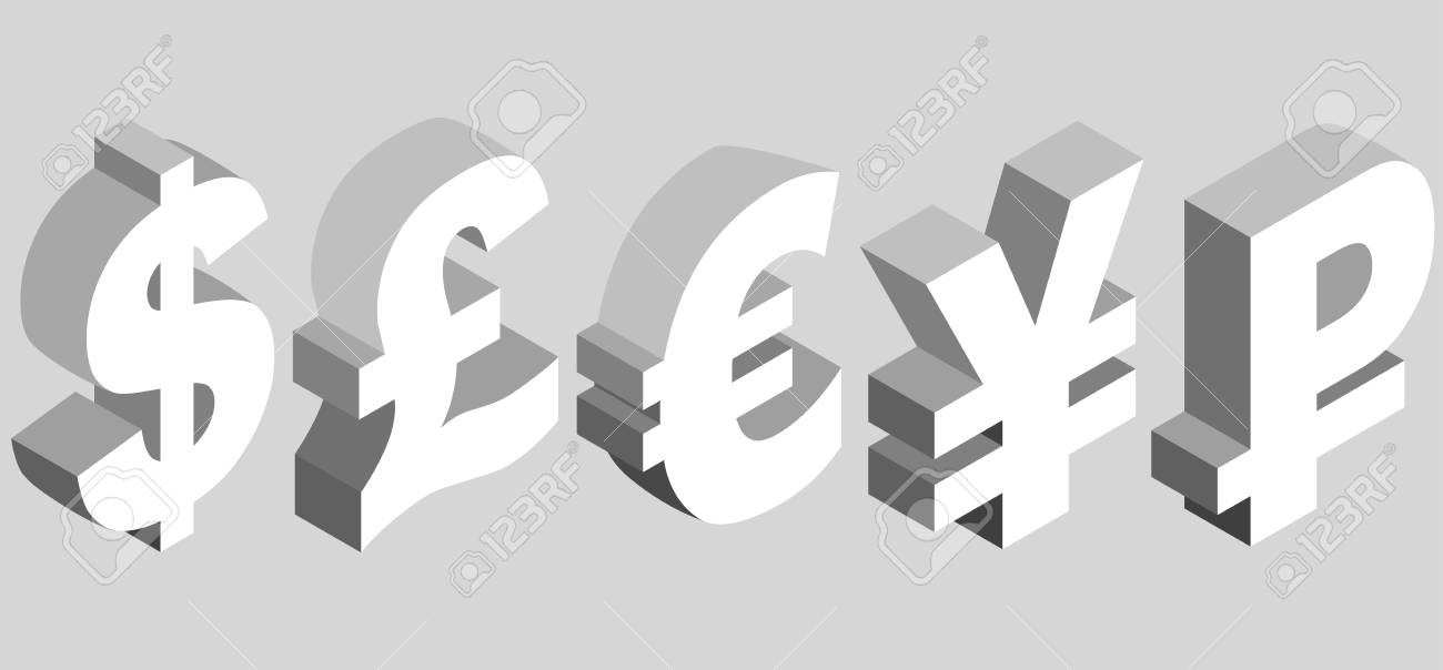 Isometric Set Of Currency Symbols Of The World Dollar Pound