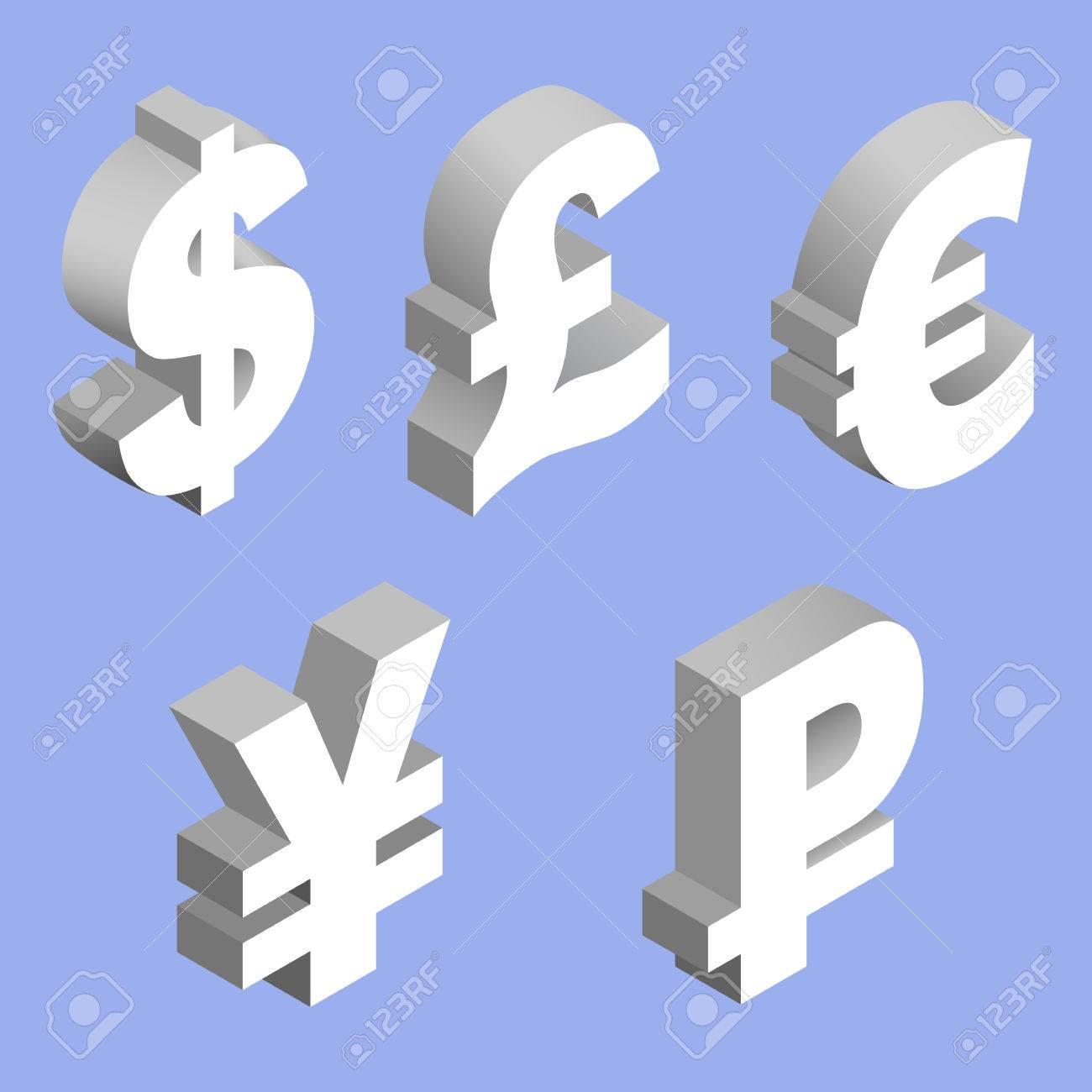 Isometric Set Of Currency Symbols Of The World Dollar Pound