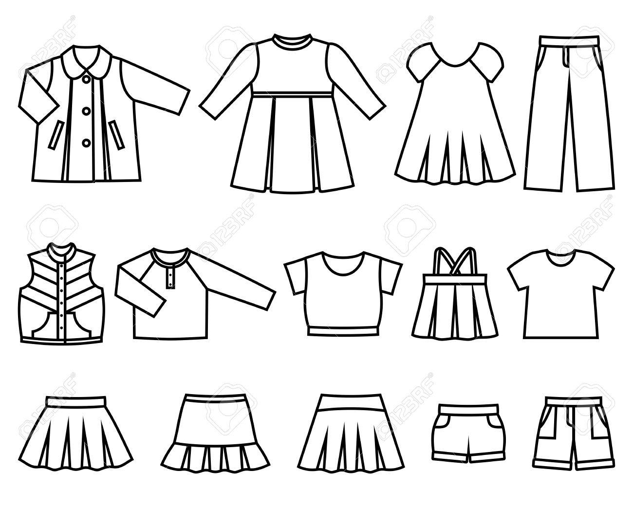 Set of line icons children's clothes for girls  Collection of