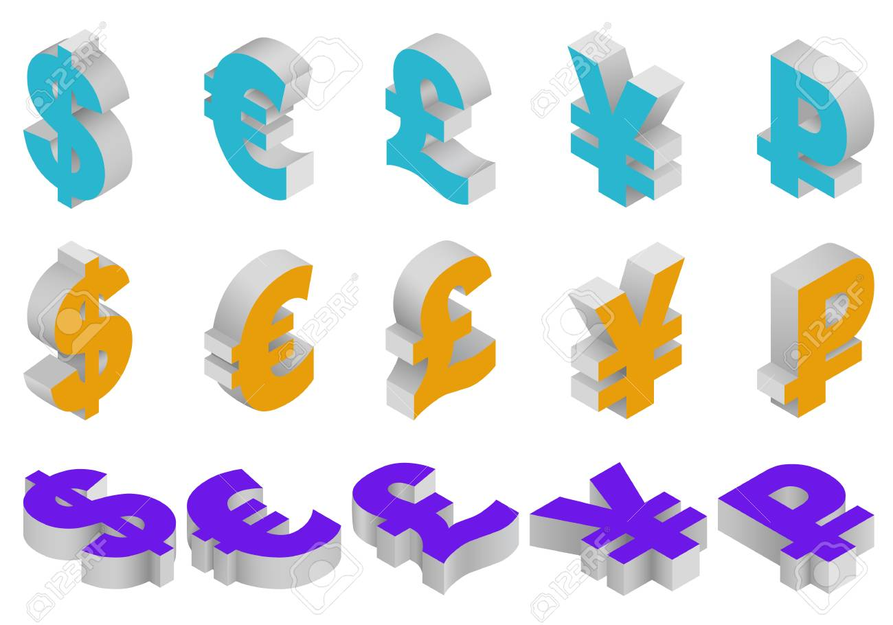 Isometric Set Icons Of Currency Symbols Of The World Dollar