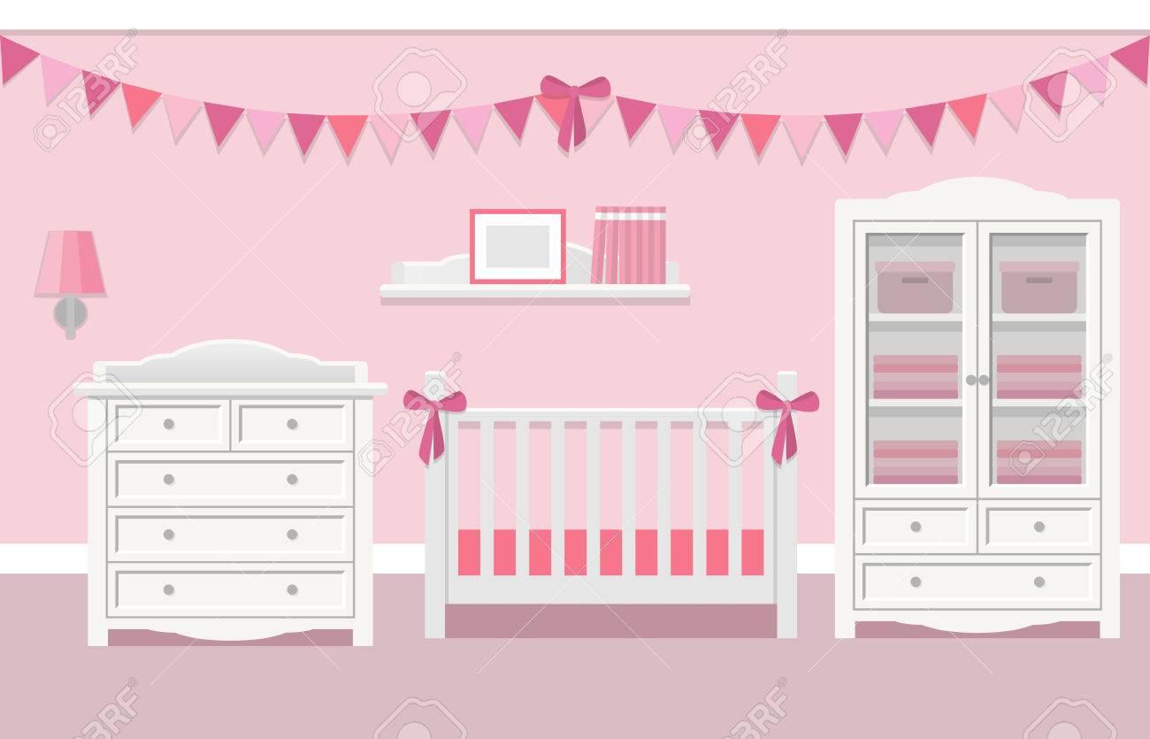 Baby Rauminnenraum Für Mädchen Mit Weißen Möbeln Im Flachen Stil. Moderne  Rosa Kinderzimmer