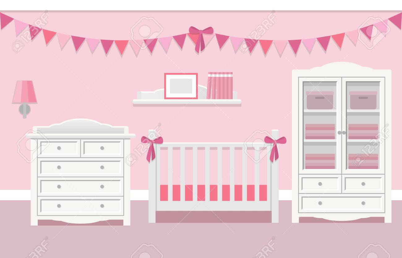 nursery with white furniture. baby room interior for girl with white furniture in flat style. modern pink nursery design