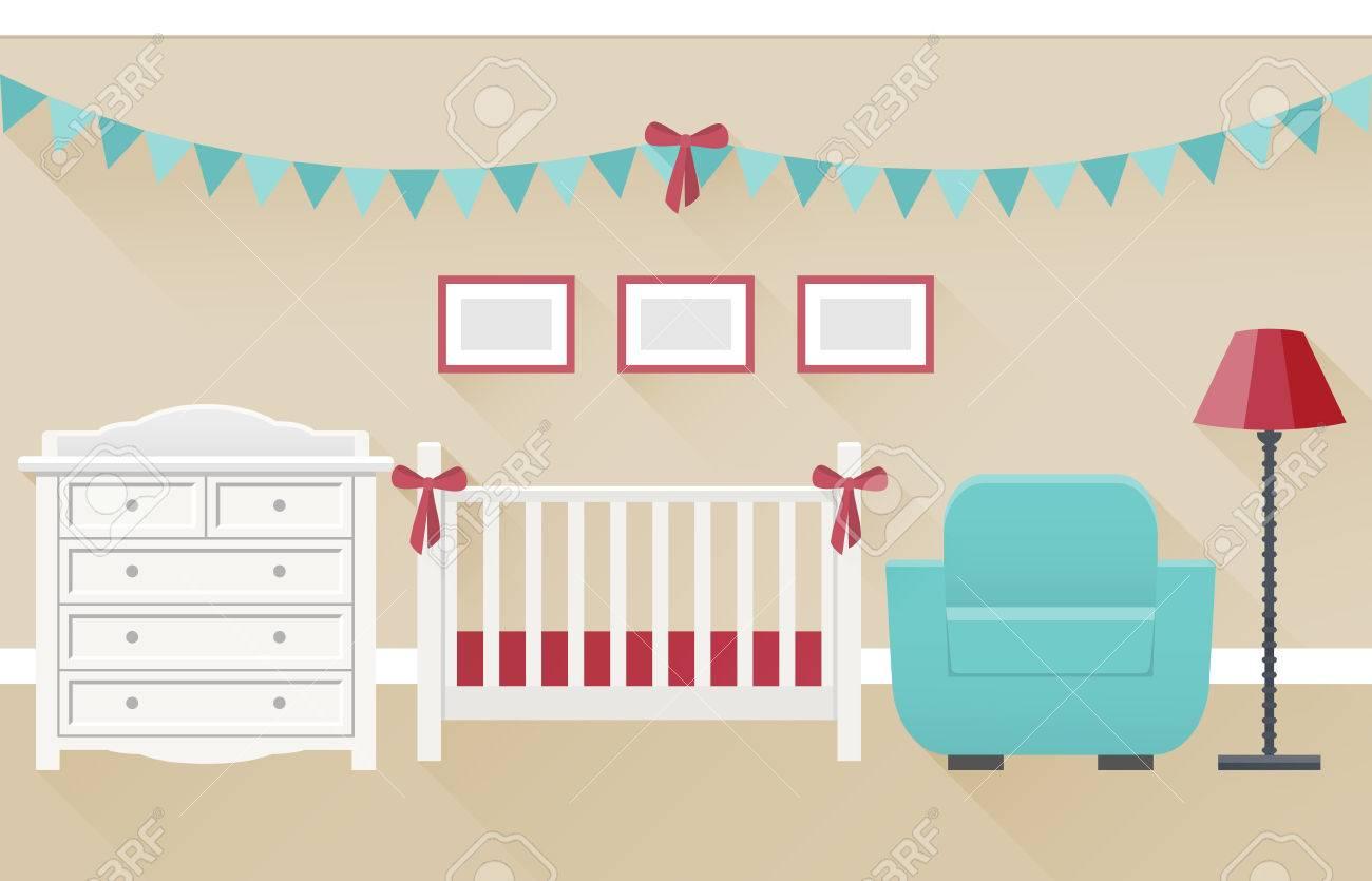 Baby Rauminnenraum Für Neugeborene In Flachen Stil Mit Langen Schatten. Moderne  Kinderzimmer Design Weiß