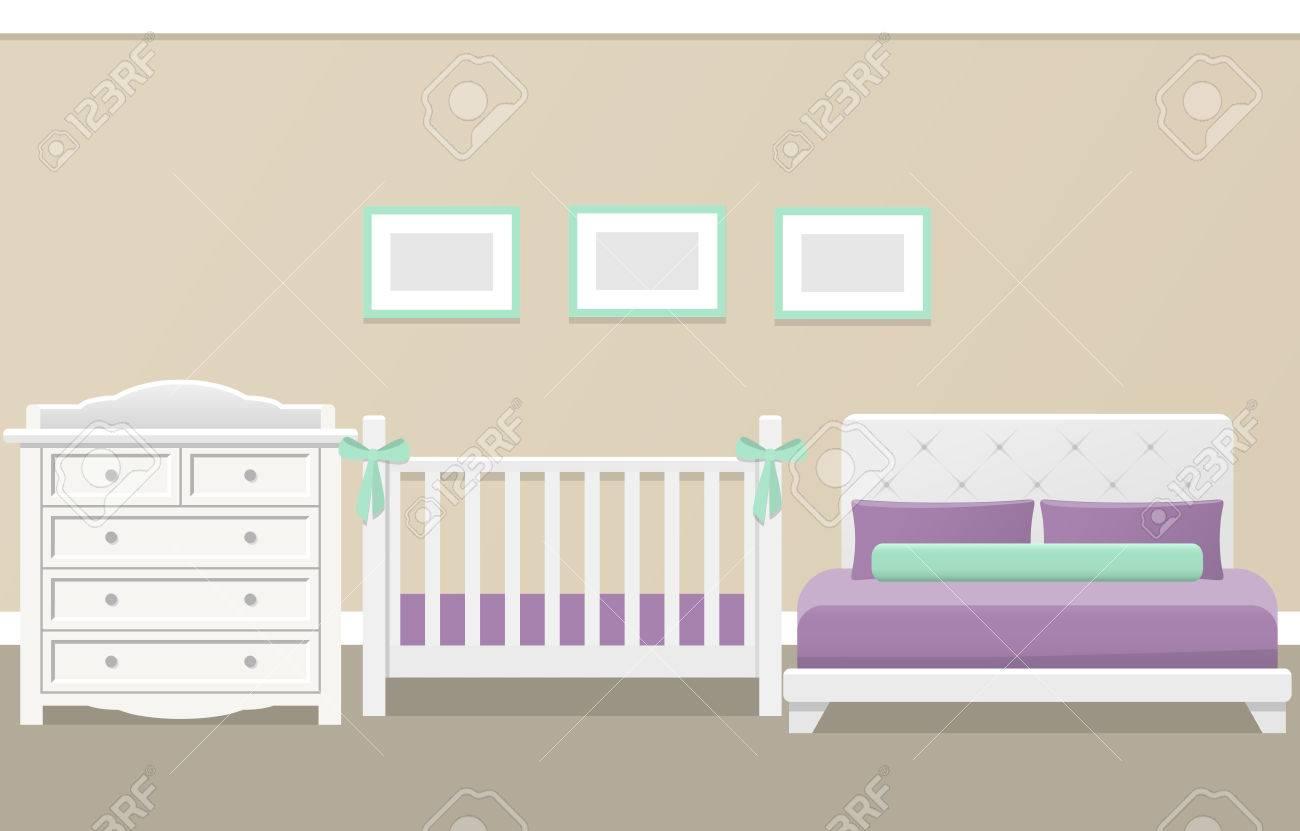 Interior Del Dormitorio Para El Bebé Recién Nacido Y Los Padres De ...