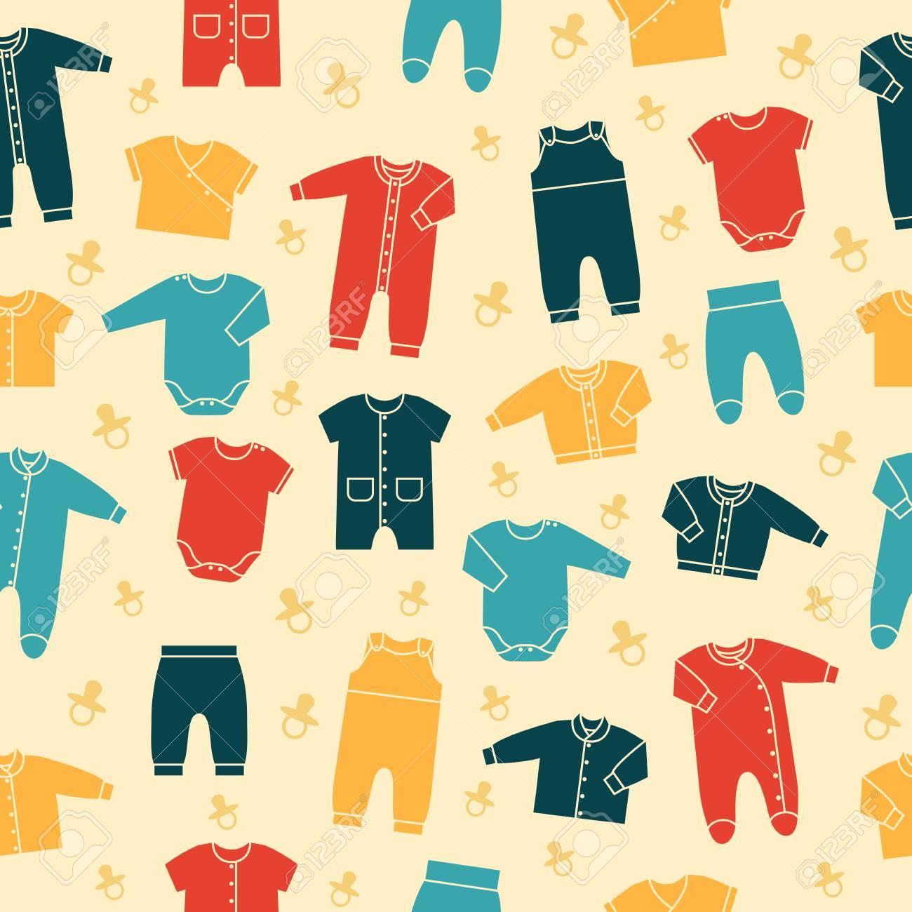 Foto de archivo - Sin costuras modelo retro con ropa de bebé recién nacido  en el fondo amarillo. Colección de ropa linda para los niños. daeea6ed1426