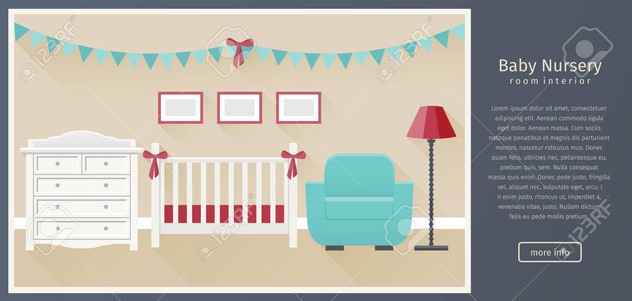 Banner Von Baby Kinderzimmer Innenraum Mit Weißen Möbeln In Flachen ...
