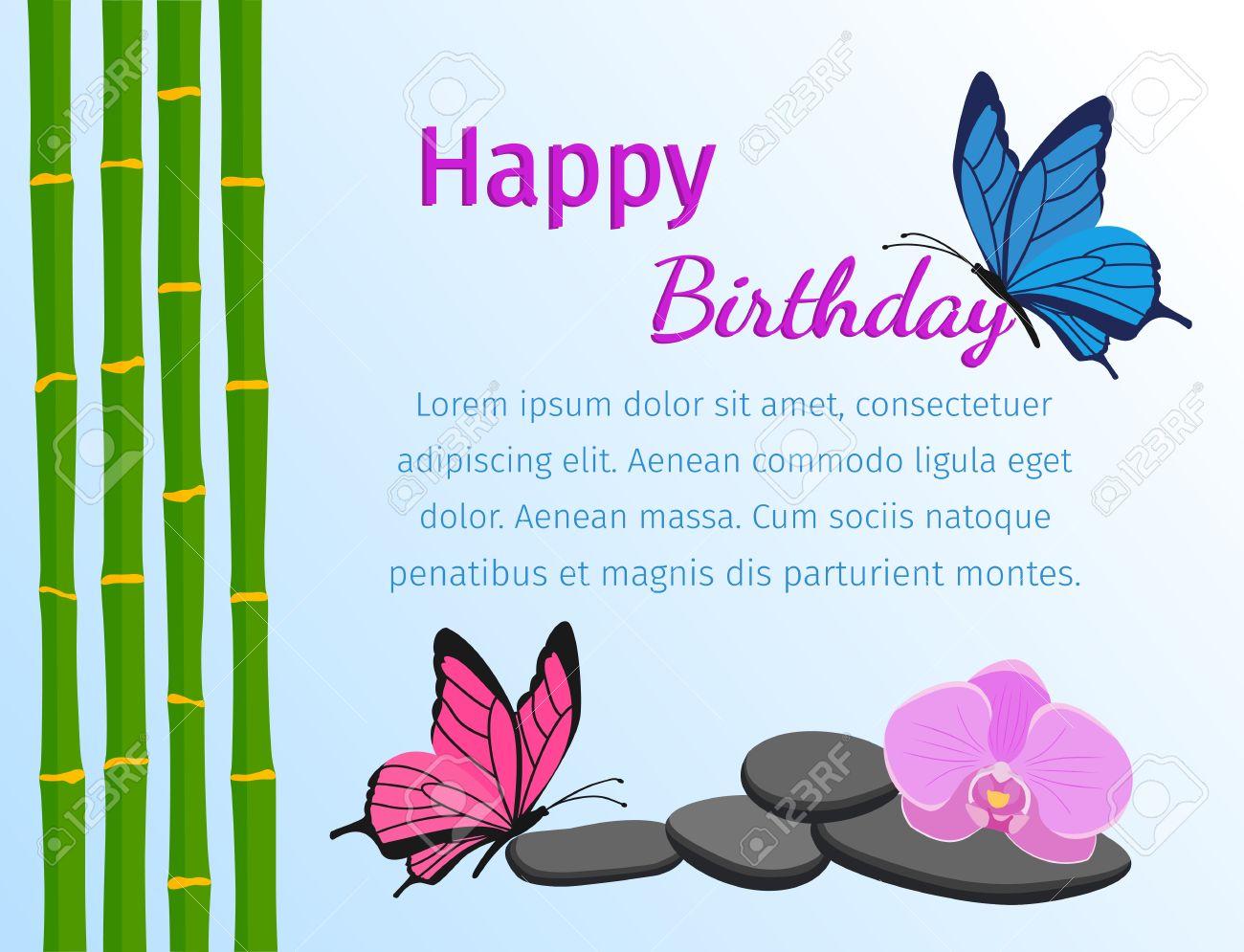 Vettoriale Buon Biglietto Di Auguri Di Compleanno Con Le Farfalle