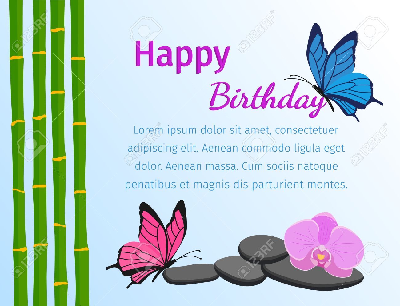 Happy Birthday Greeting Card With Butterflies And Bamboo Stems Happy Birthday Wishes Butterfly