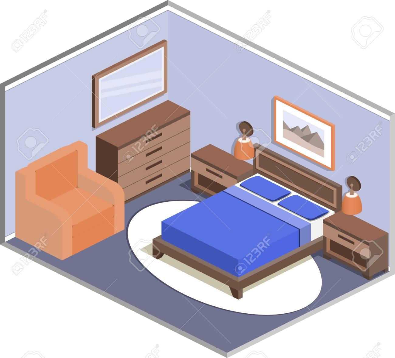 Modernes Design Der Gemütlichen Schlafzimmer Mit Möbeln. Interior In ...