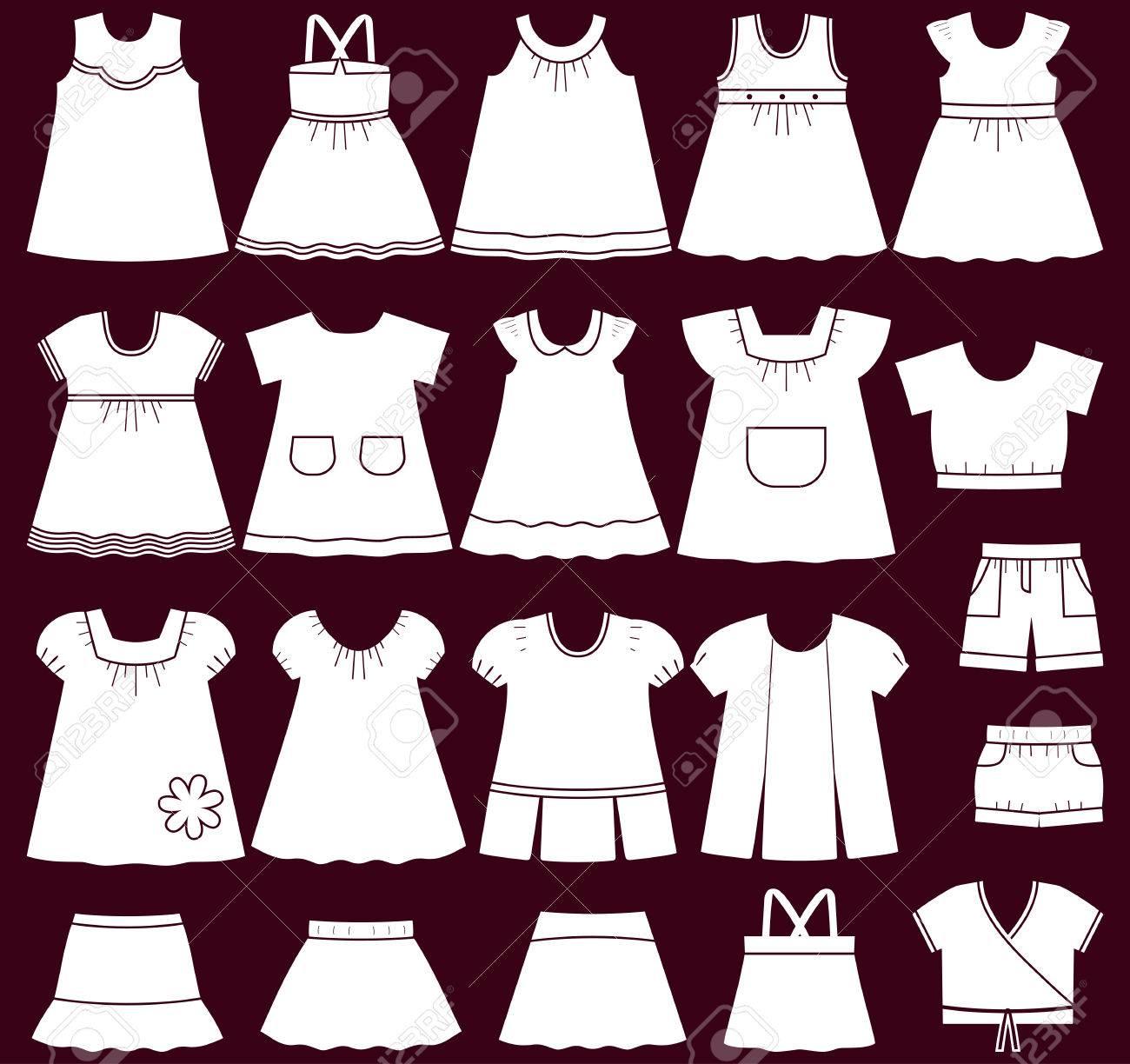 5e696e9ed Foto de archivo - Iconos de ropa de bebé. Conjunto de ropa infantil para  niñas. Ilustración del vector.