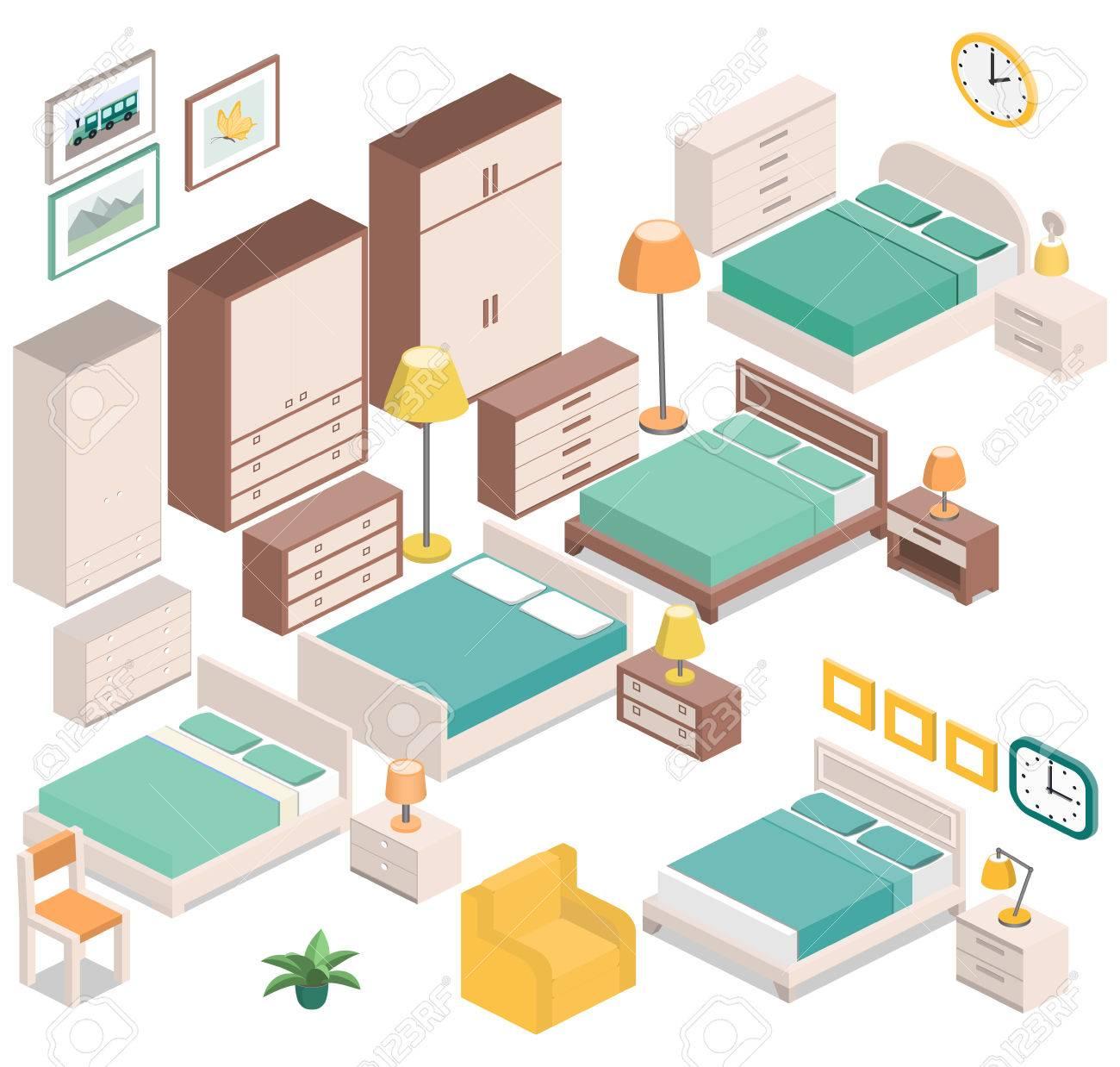 Muebles Para El Dormitorio En Estilo Isométrica - Mesitas De Noche ...