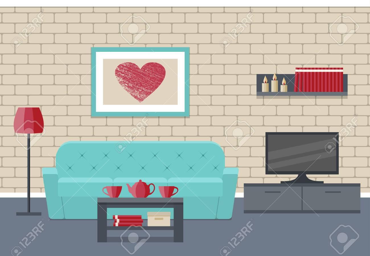 Wohnzimmer Innenraum. Flach Vektor Hintergrund. Hausdesign ...