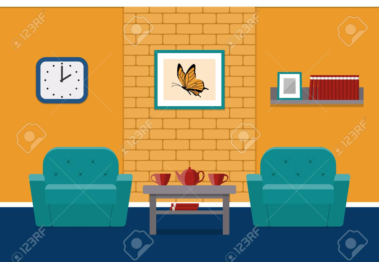 Living Room Interior In Flat Style Vector House Design Lounge