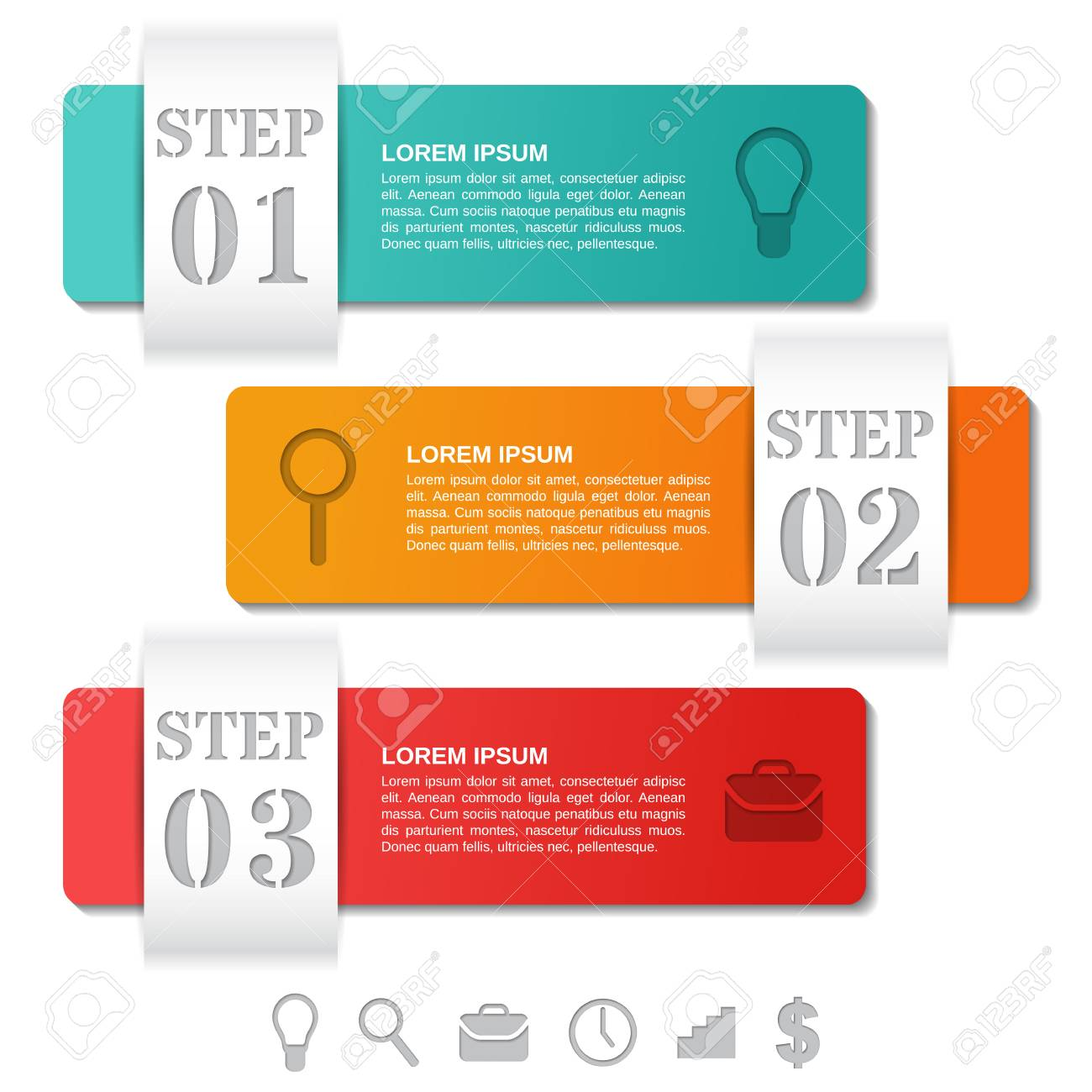 Infographics Templates 3 Options Parts Steps With Icons