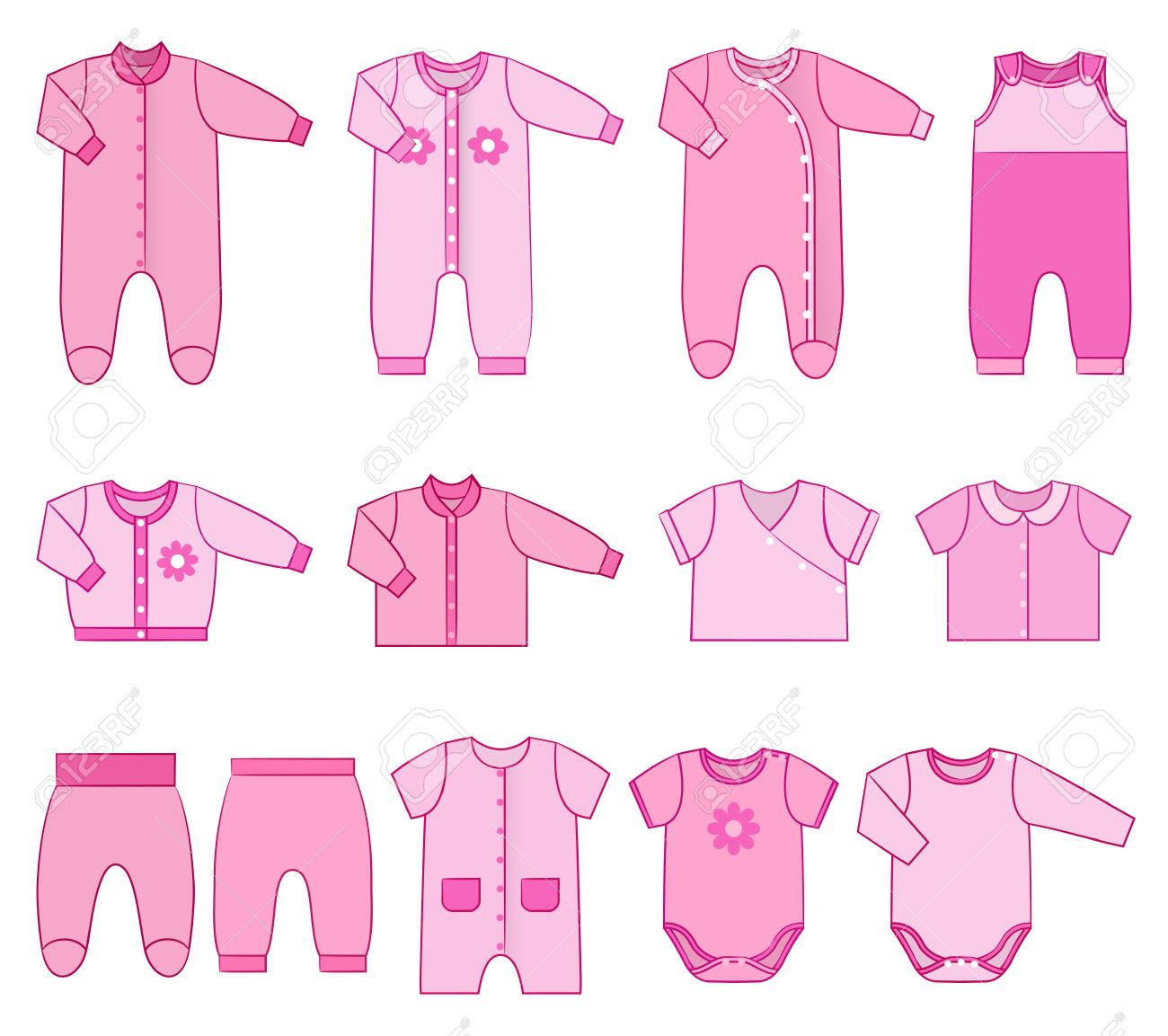 c26b0b93a Baby clothes. Garments for infant girls. Vector. Kids bodysuits, overalls,  rompers