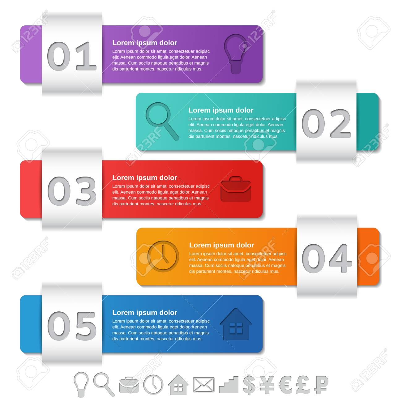 infographics templates infographic frames 5 steps options