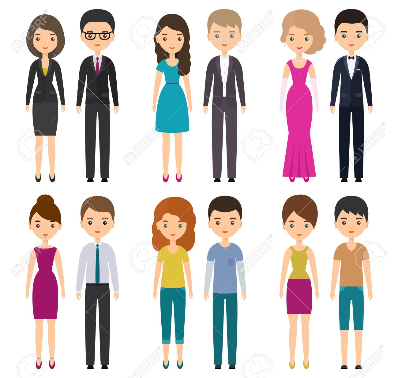 characters flat people in different types of dress code vector