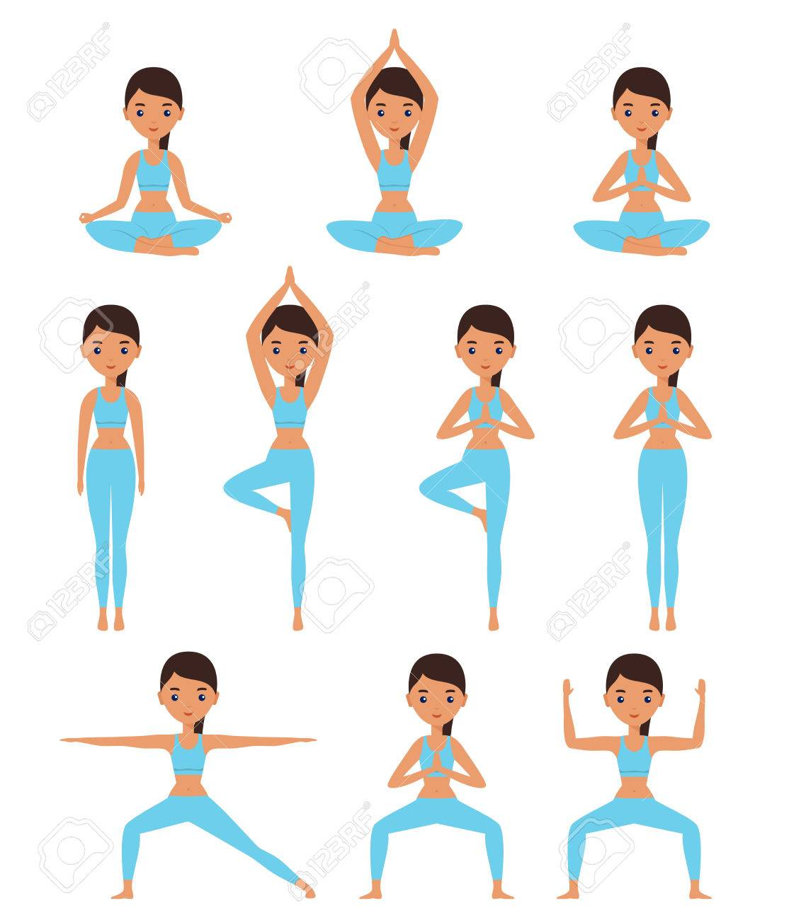 Yoga Women Standing In Yoga Poses Lotus Goddess Mountain Royalty Free Cliparts Vectors And Stock Illustration Image 76988369