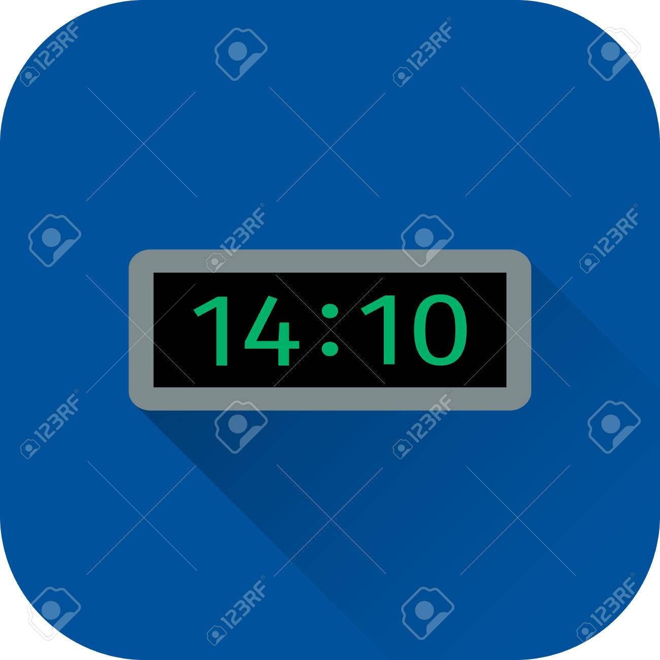 Electric Clock Icon. Vector. Flat Design With Long Shadow. Time ...